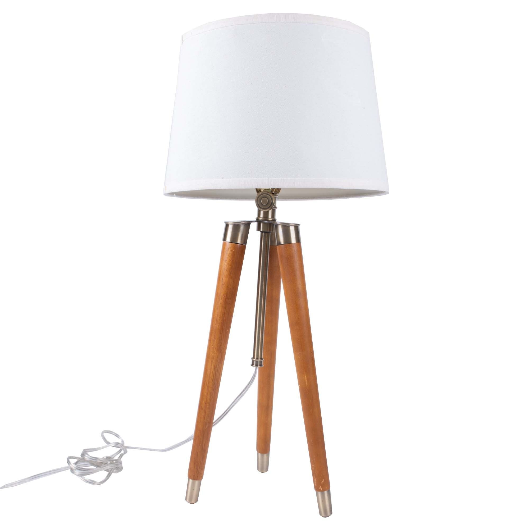Mid Century Modern Wooden Tripod Table Lamp Ebth