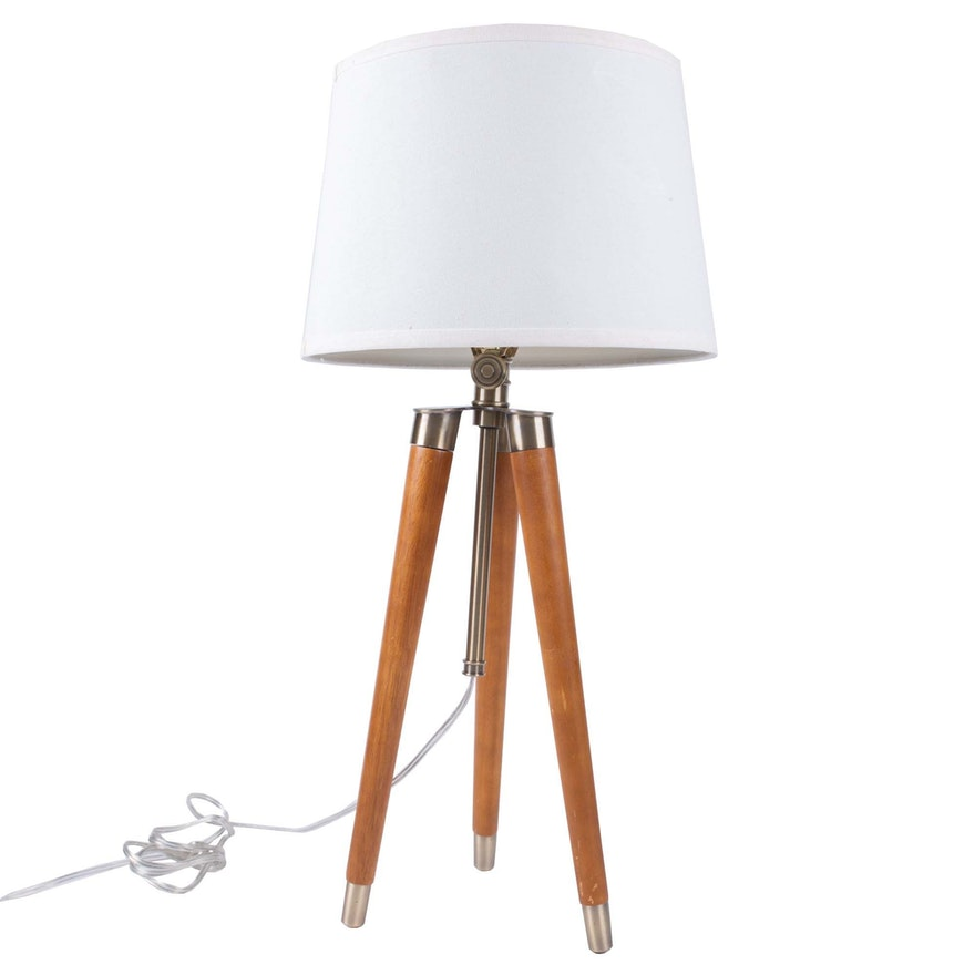Mid Century Modern Wooden Tripod Table Lamp Ebth