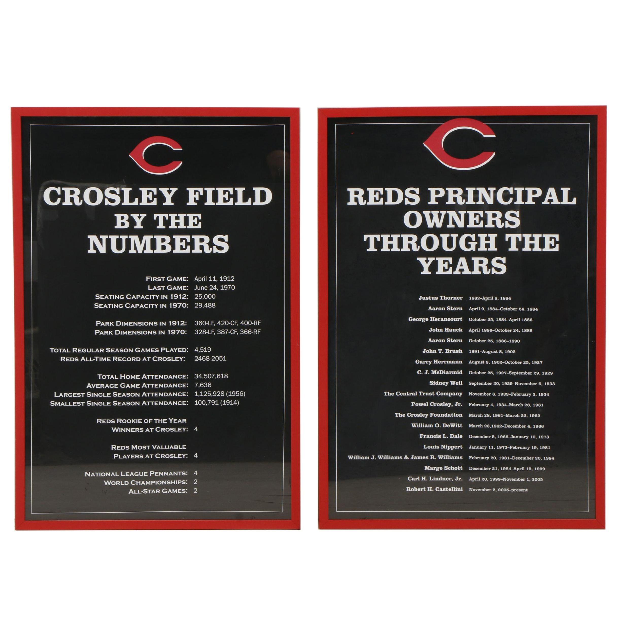 Cincinnati Reds Crosley Field and Principal Owners Framed Exhibit Displays