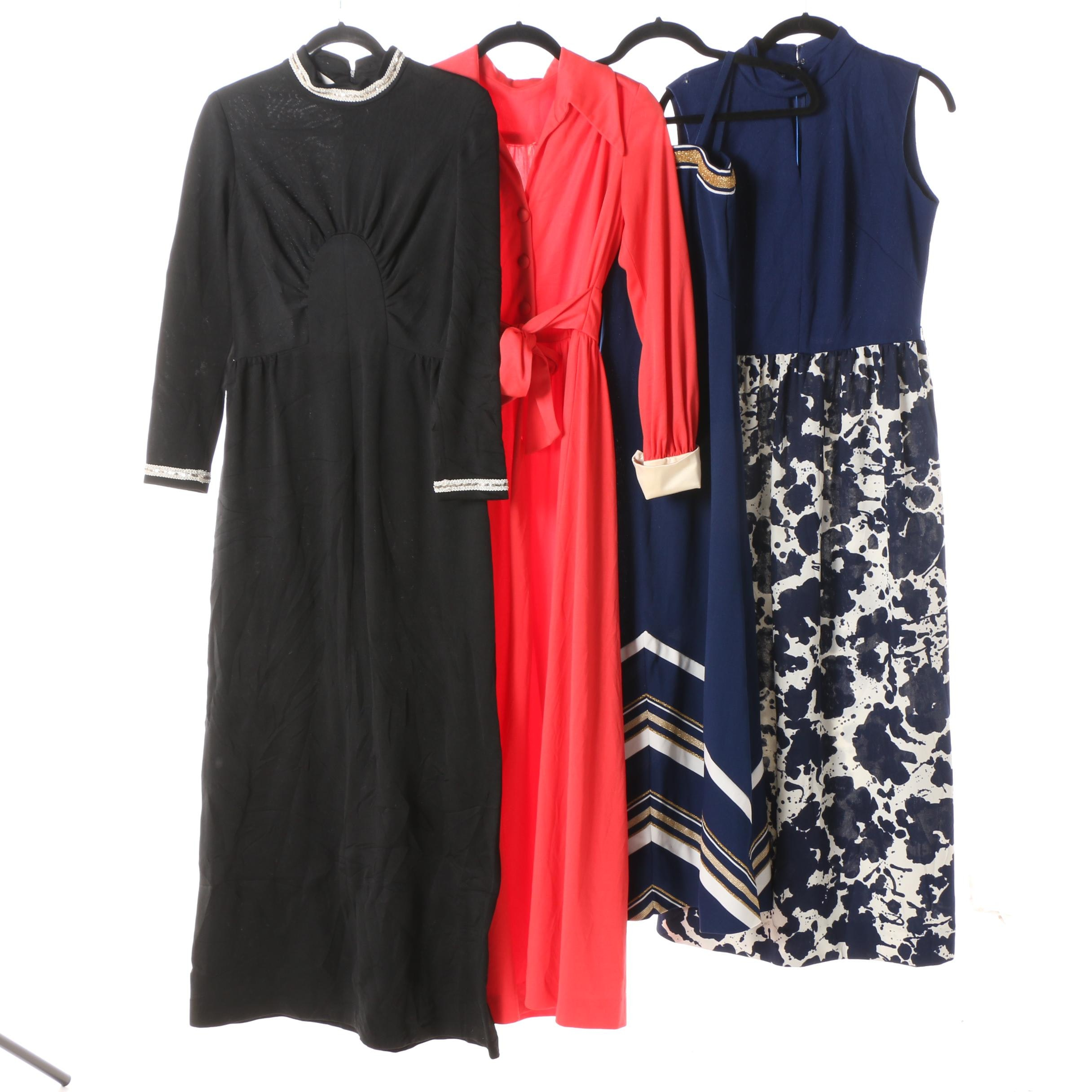 Collection of 1970s Jersey Maxi Disco Dresses