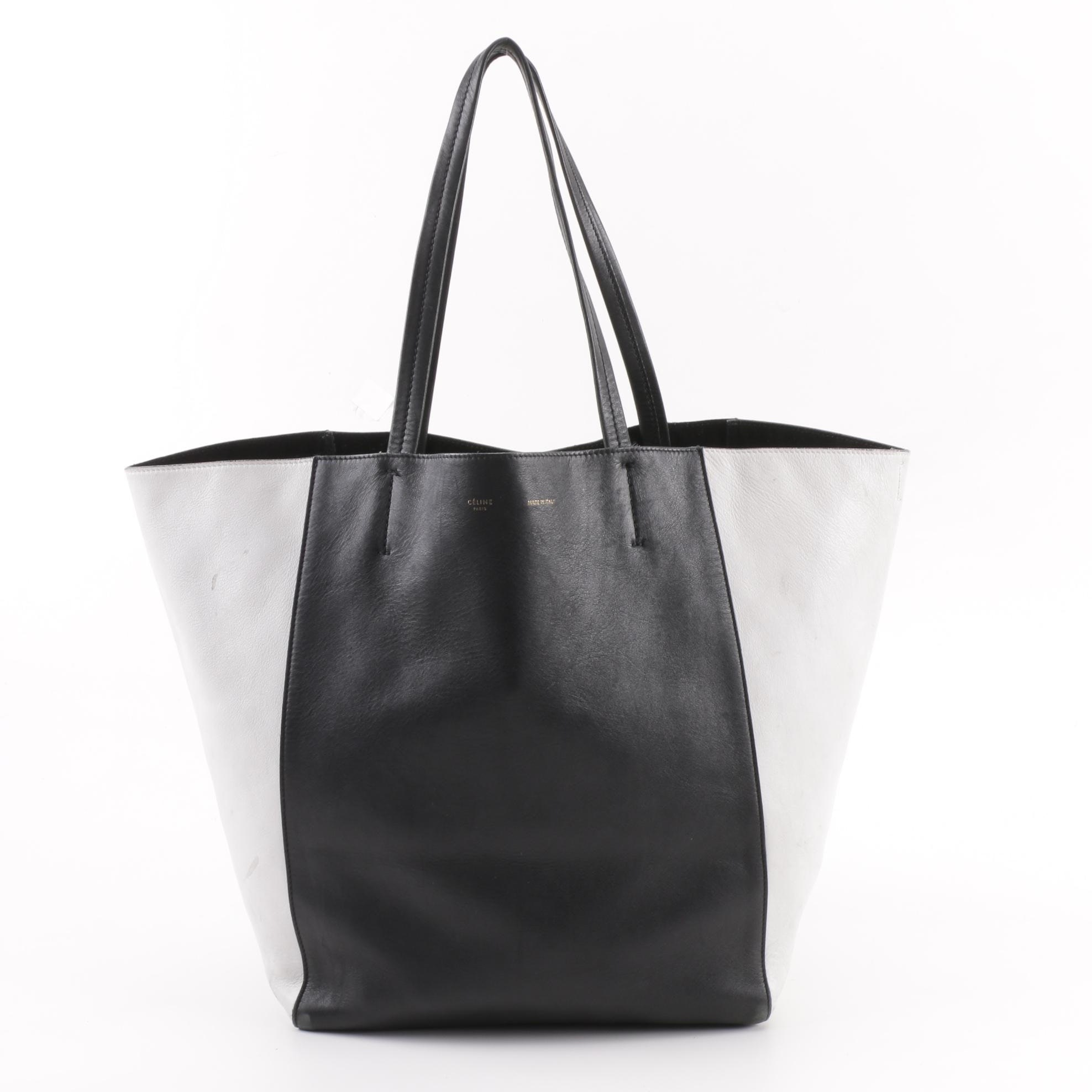 Céline Black and White Calfskin Leather Phantom Cabas Tote Bag