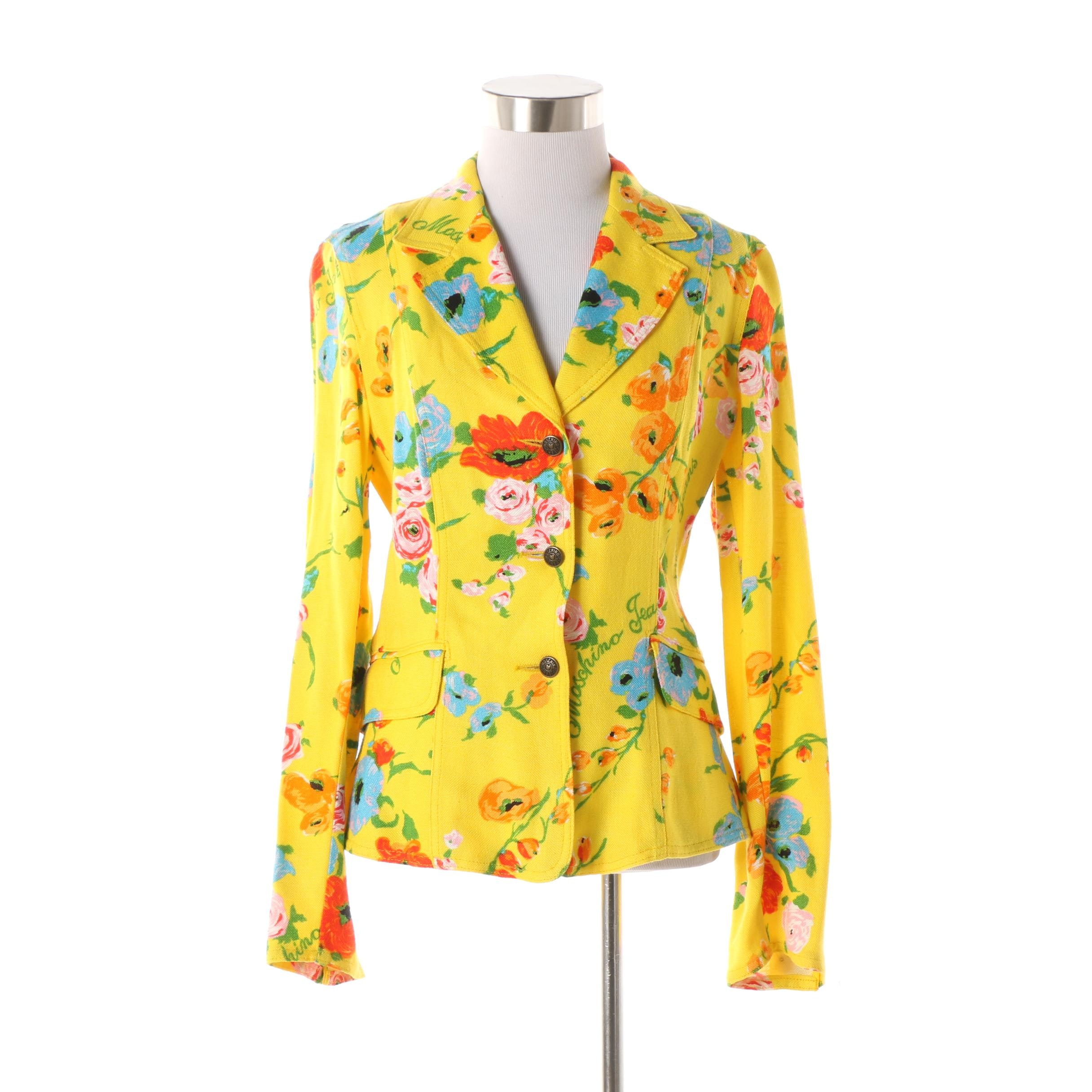 Women's 1980s Vintage Moschino Jeans Yellow Floral Rayon Blend Fitted Jacket
