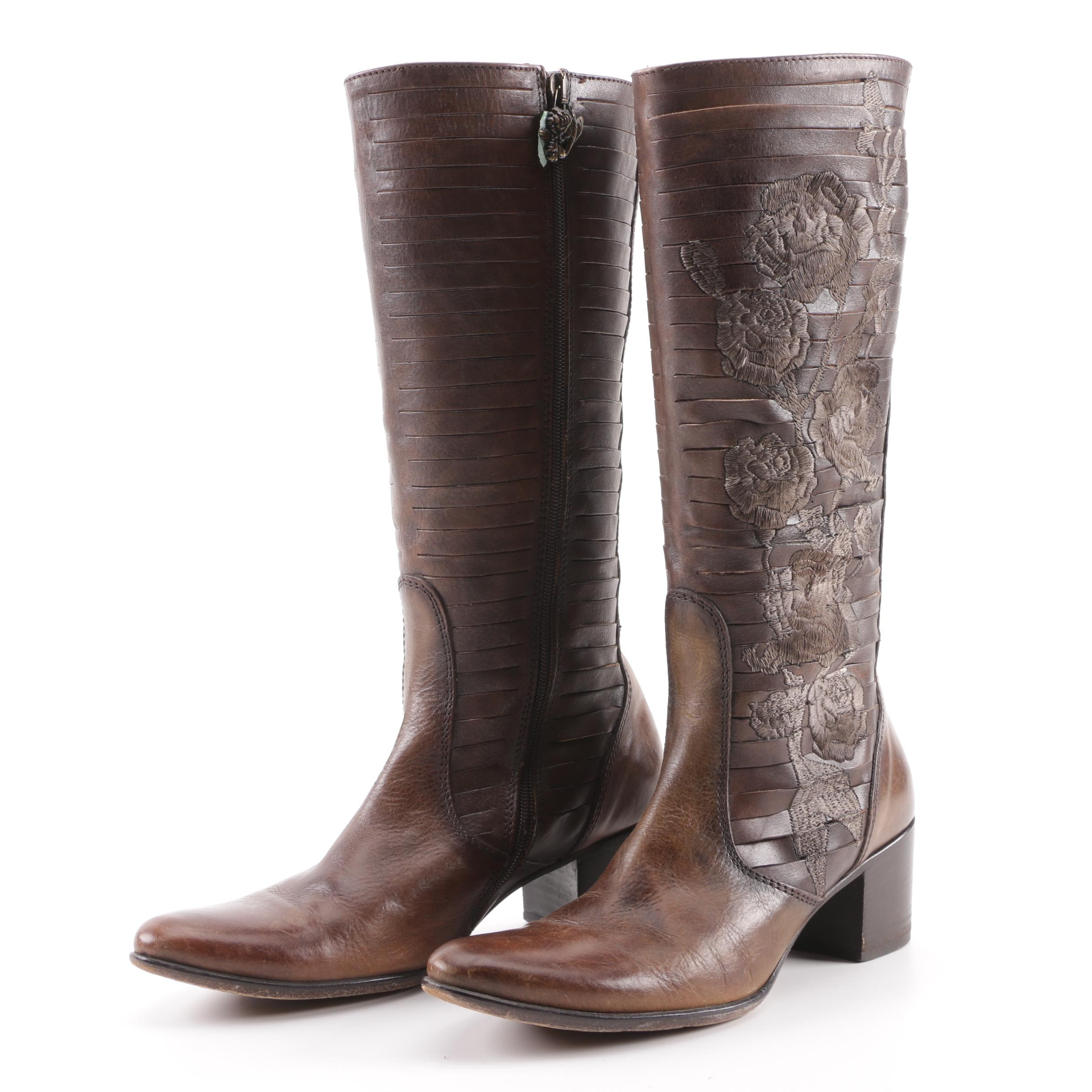 Siren by Mark Naso Brown Embroidered Cut Leather Western Boots