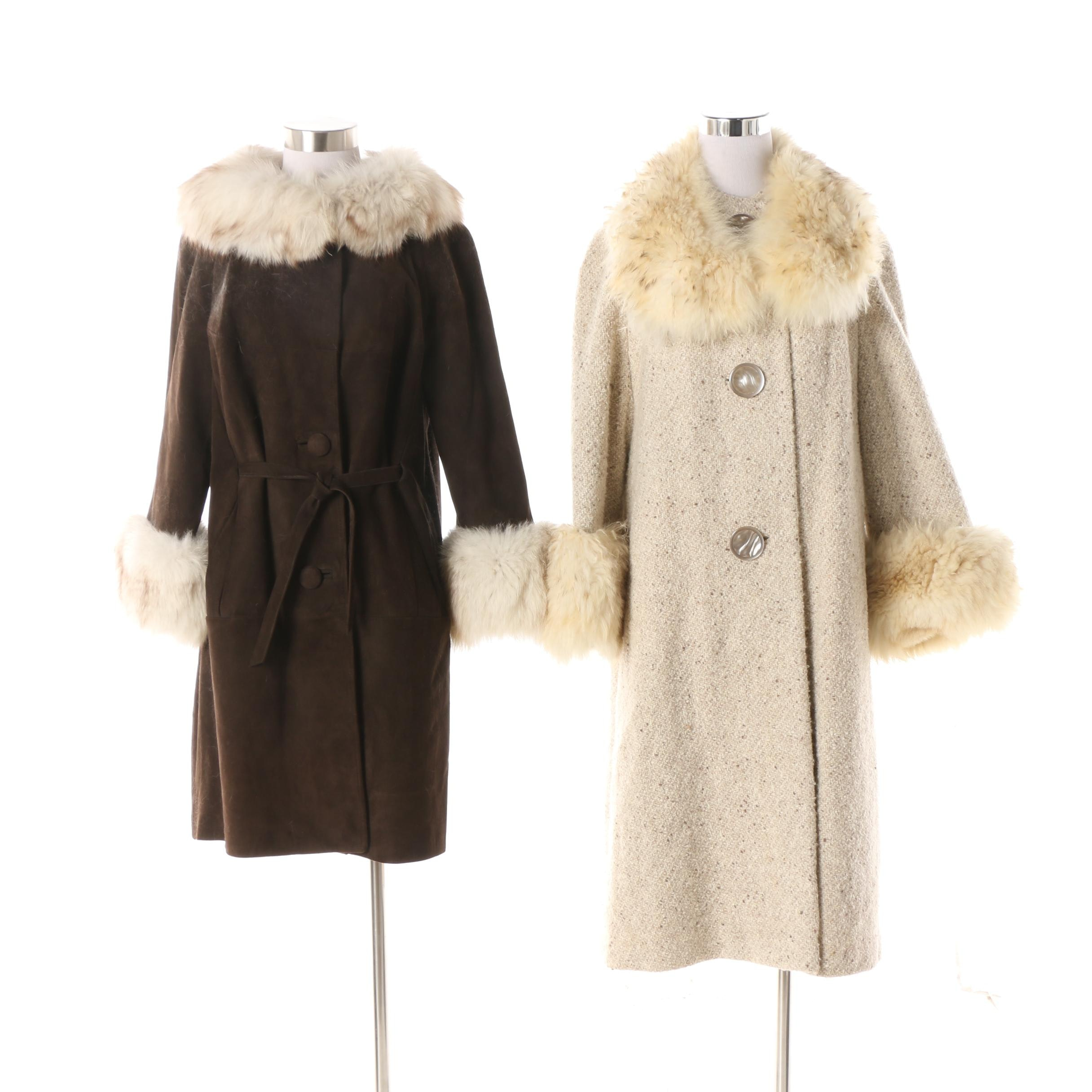 Women's Vintage Suede and Wool Dress Coats with Fox Fur Trim