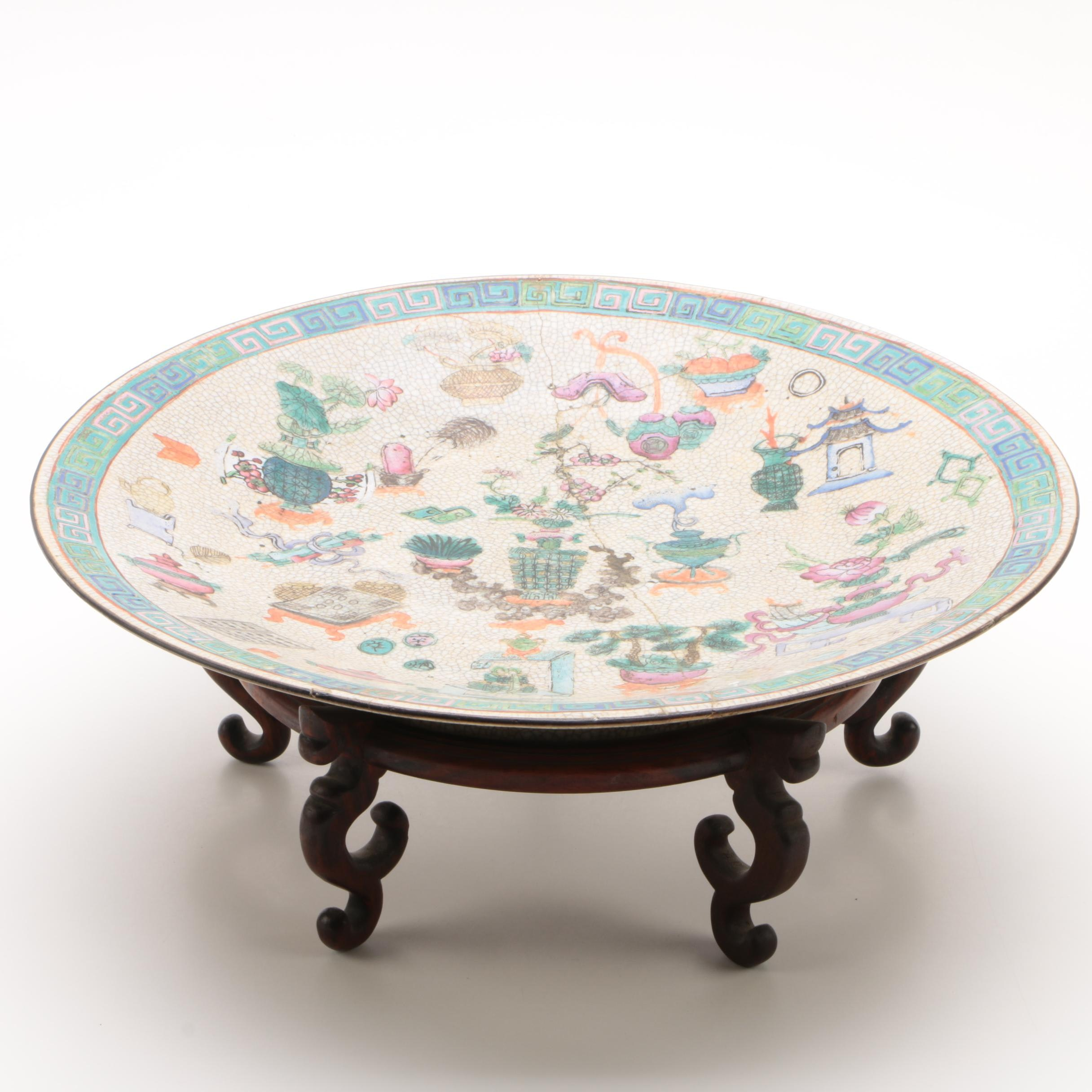 Chinese Hand-Painted Porcelain Serving Bowl with Wooden Stand