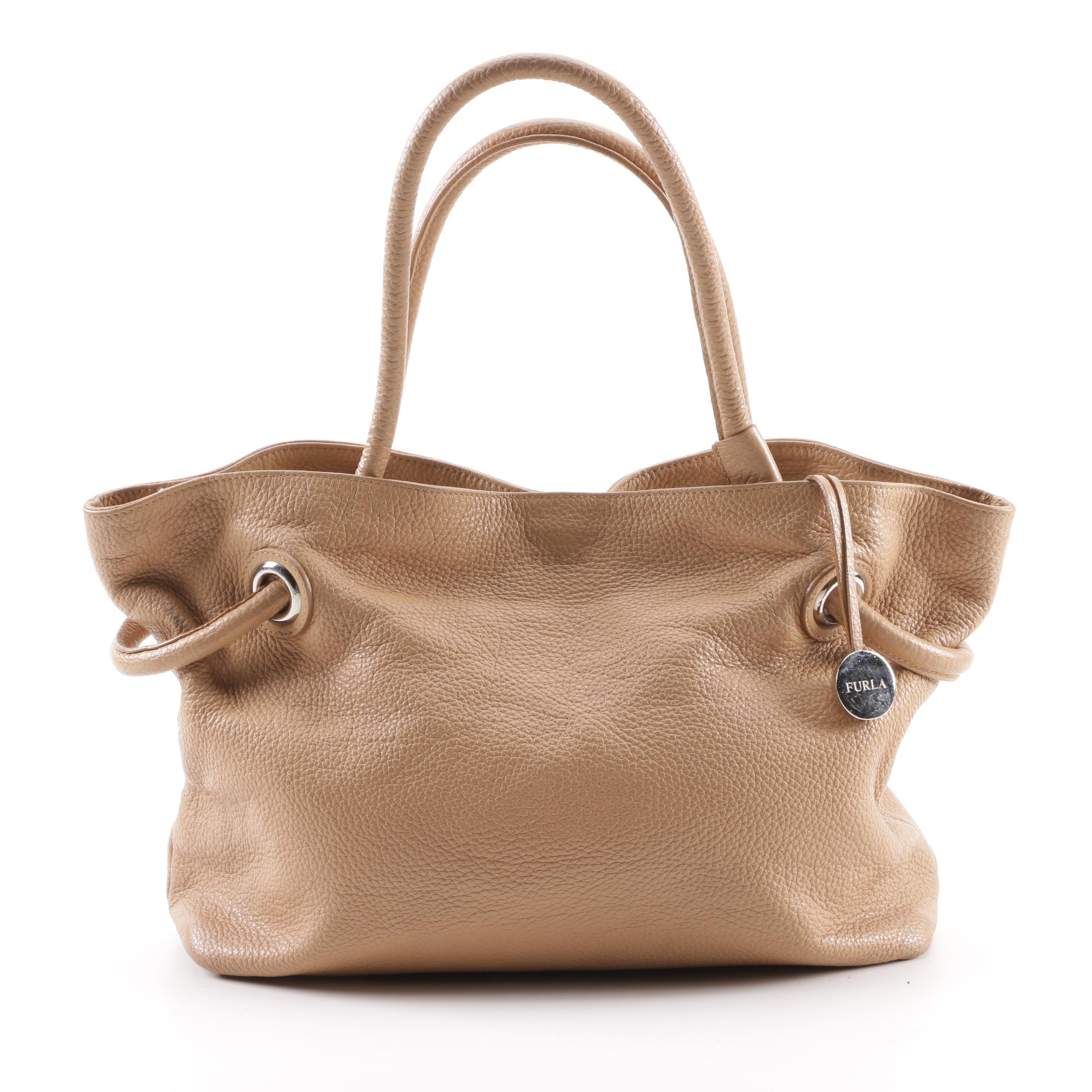 Furla Tan Pebbled Leather Tote