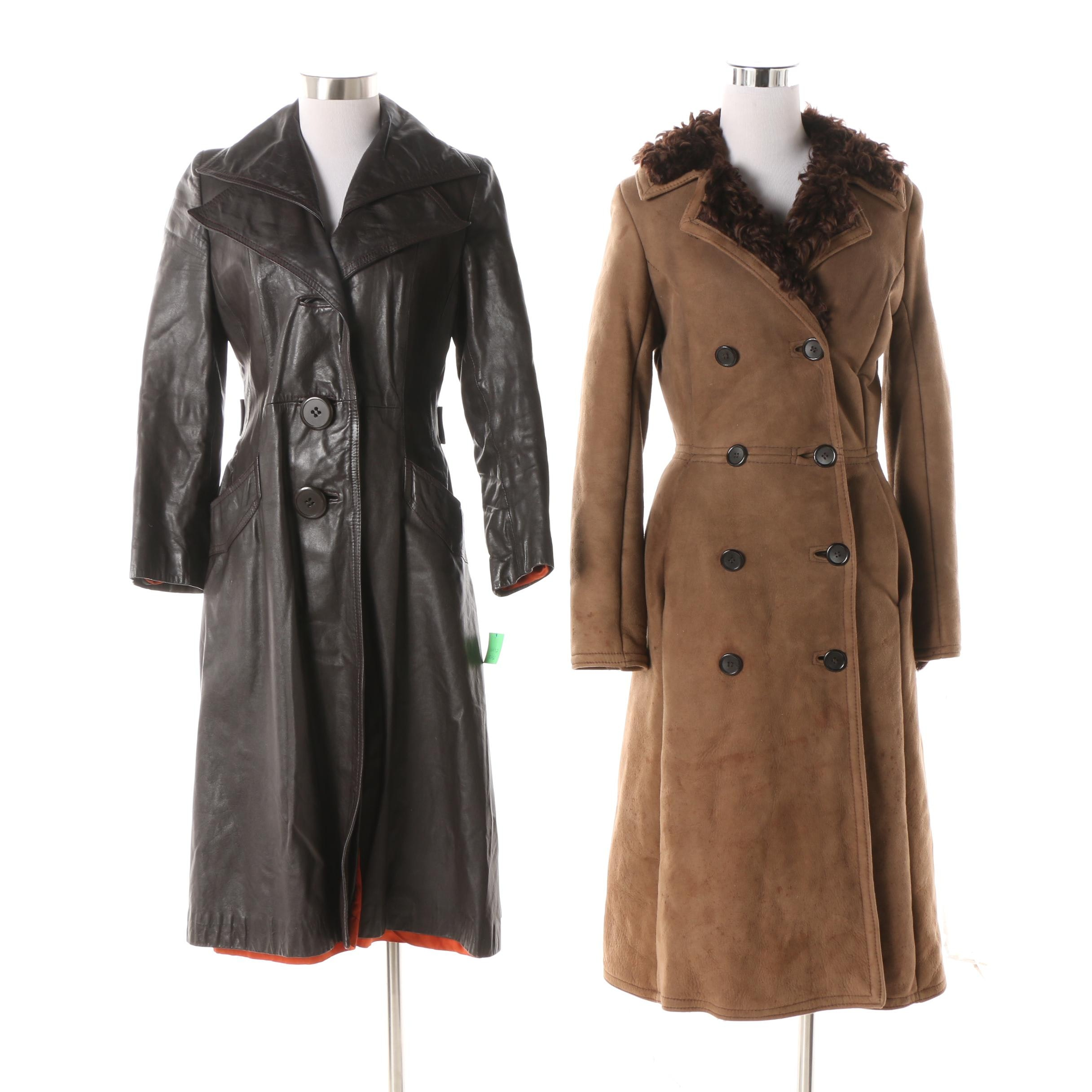 Circa 1970s Double-Breasted Sheepskin Fur Lined Coat and Black Leather Trench