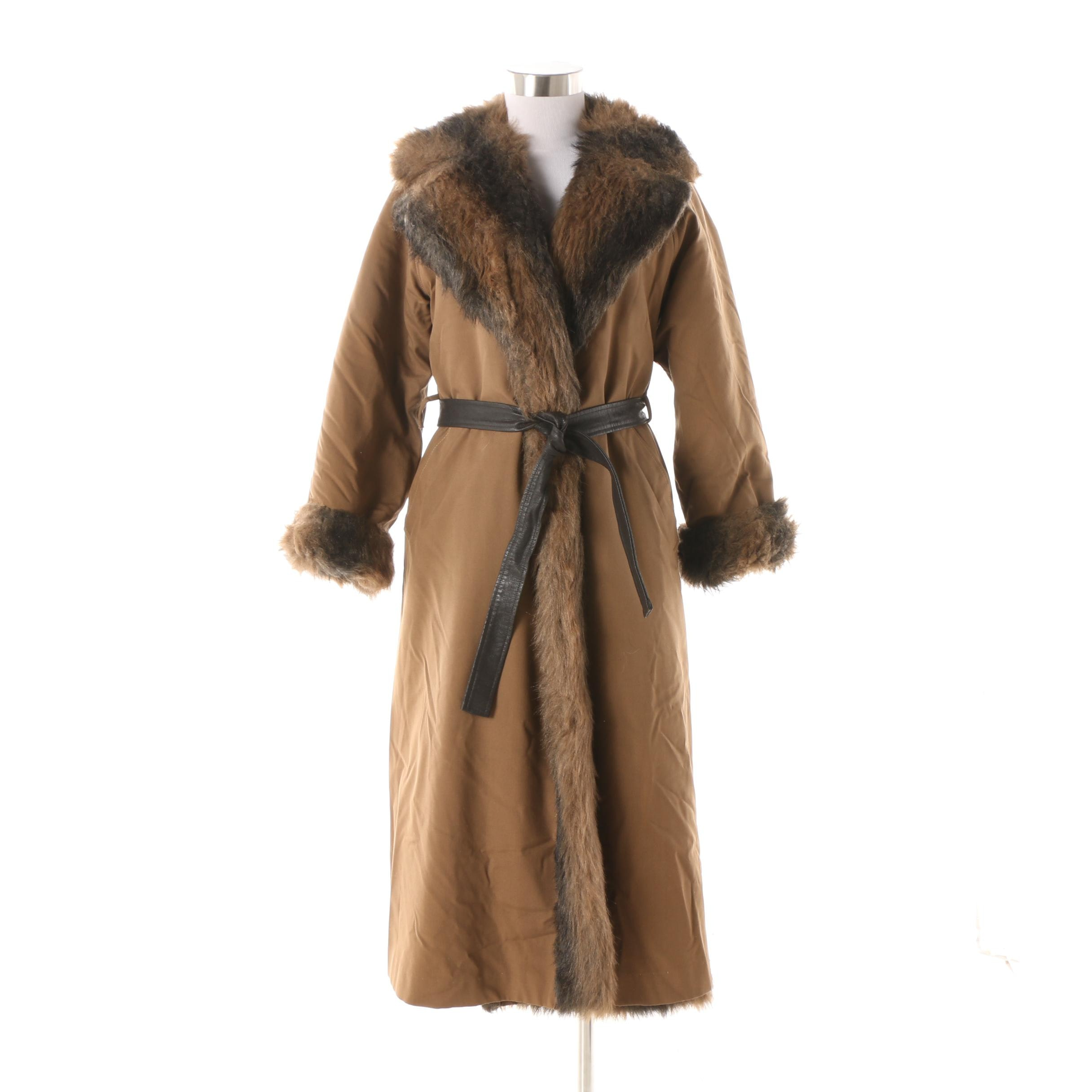 1970s Bonnie Cashin Canvas Wrap Coat with Faux Fur Lining and Leather Belt