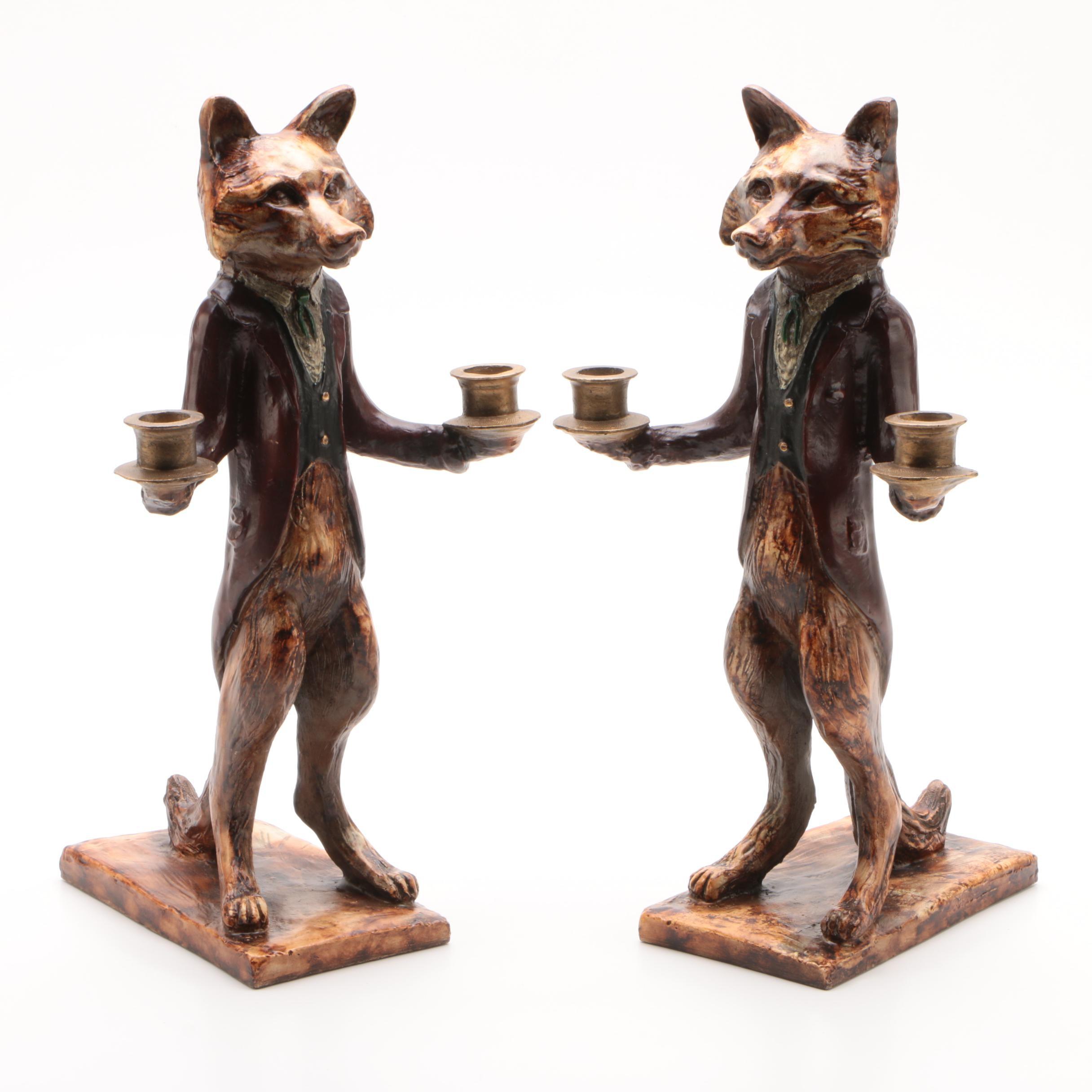 Cast Resin Figurative Anthropomorphic Fox Candleholders