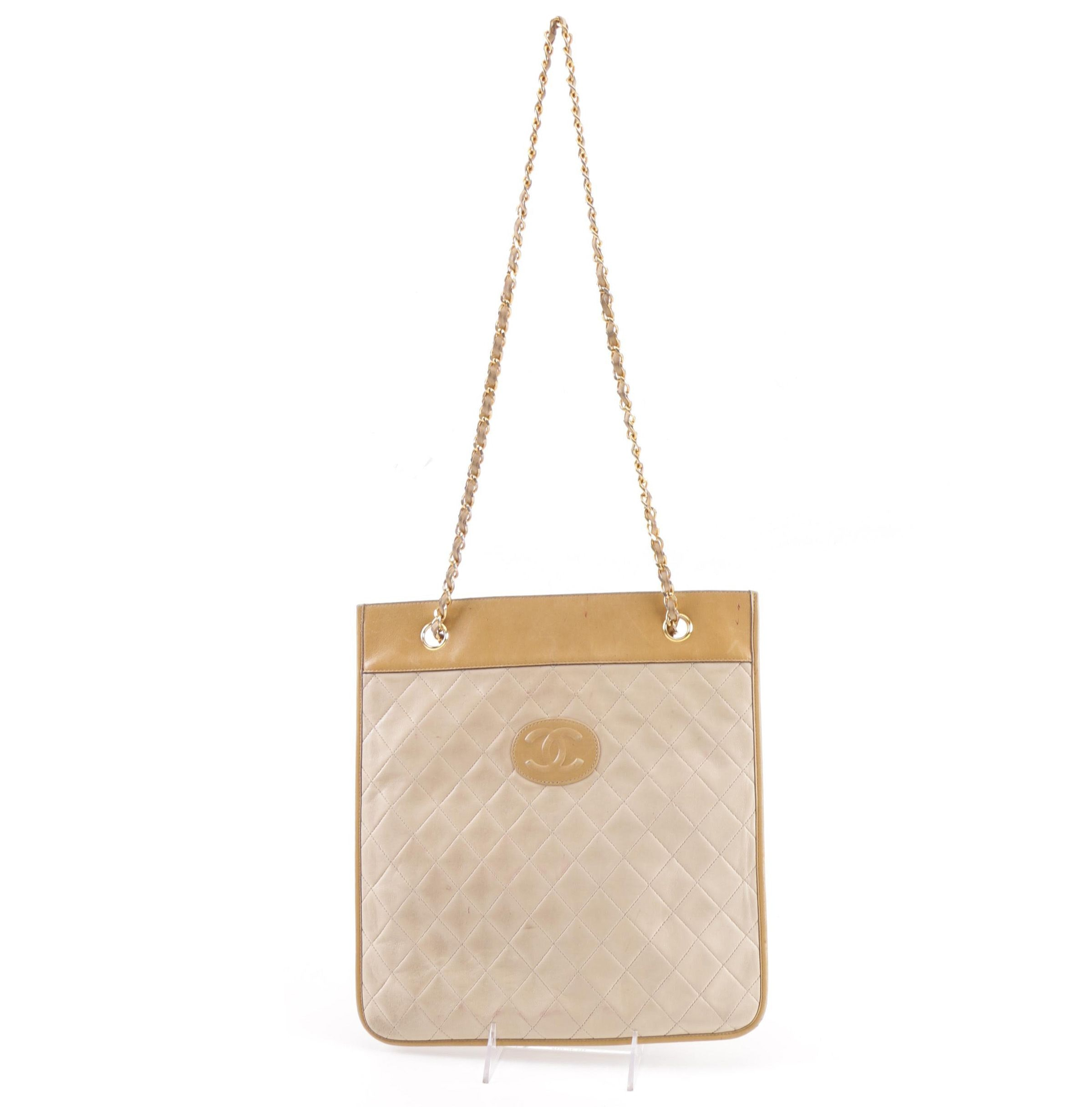 Vintage Chanel CC Tan and Beige Leather Chain Strap Shoulder Bag