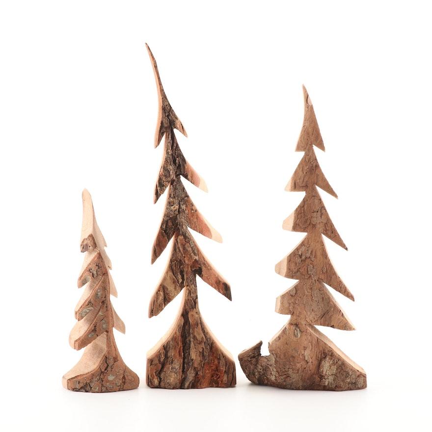 Carved Natural Wood Tree Sculptures