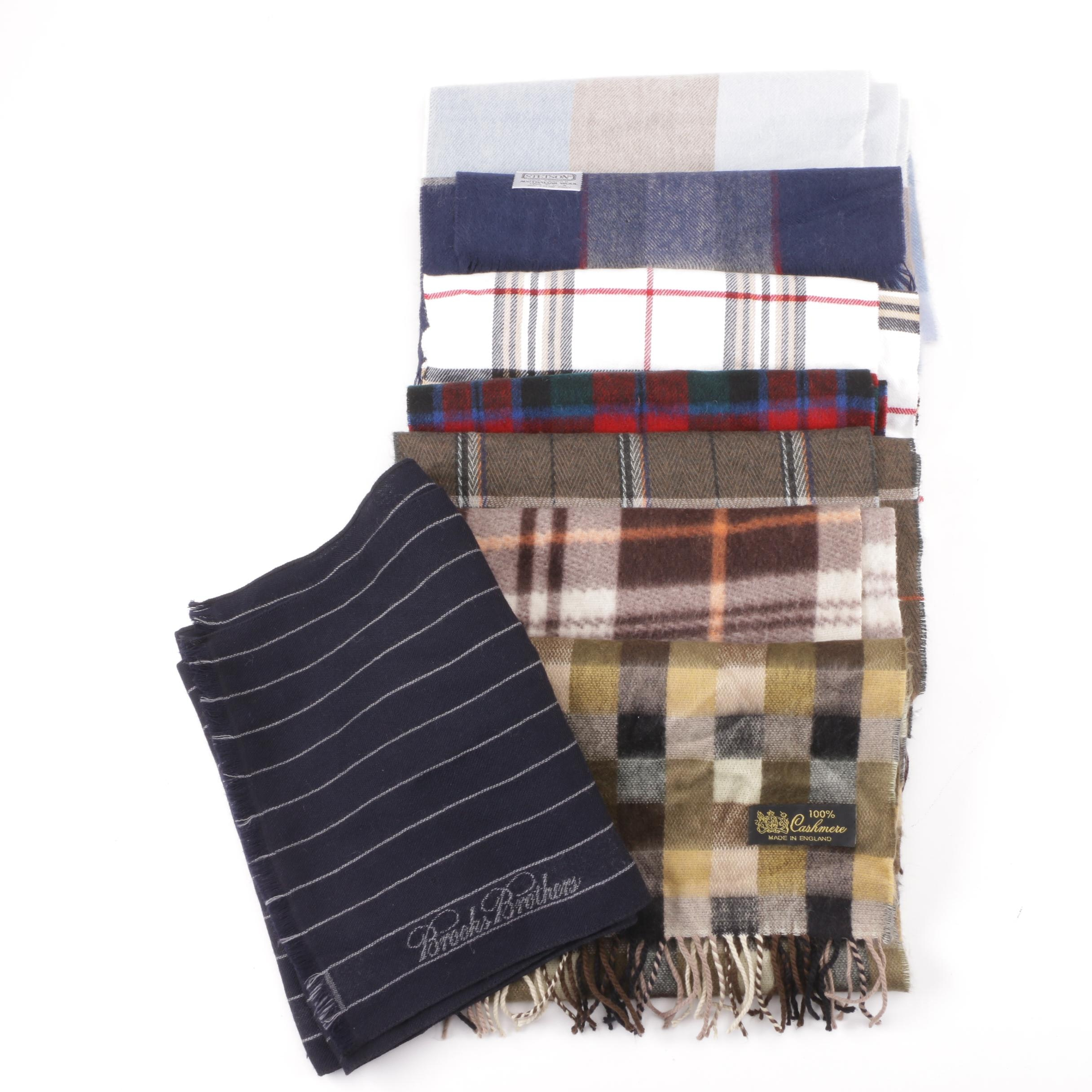 Men's and Unisex Plaid Cashmere and Wool Scarves including Brooks Brothers