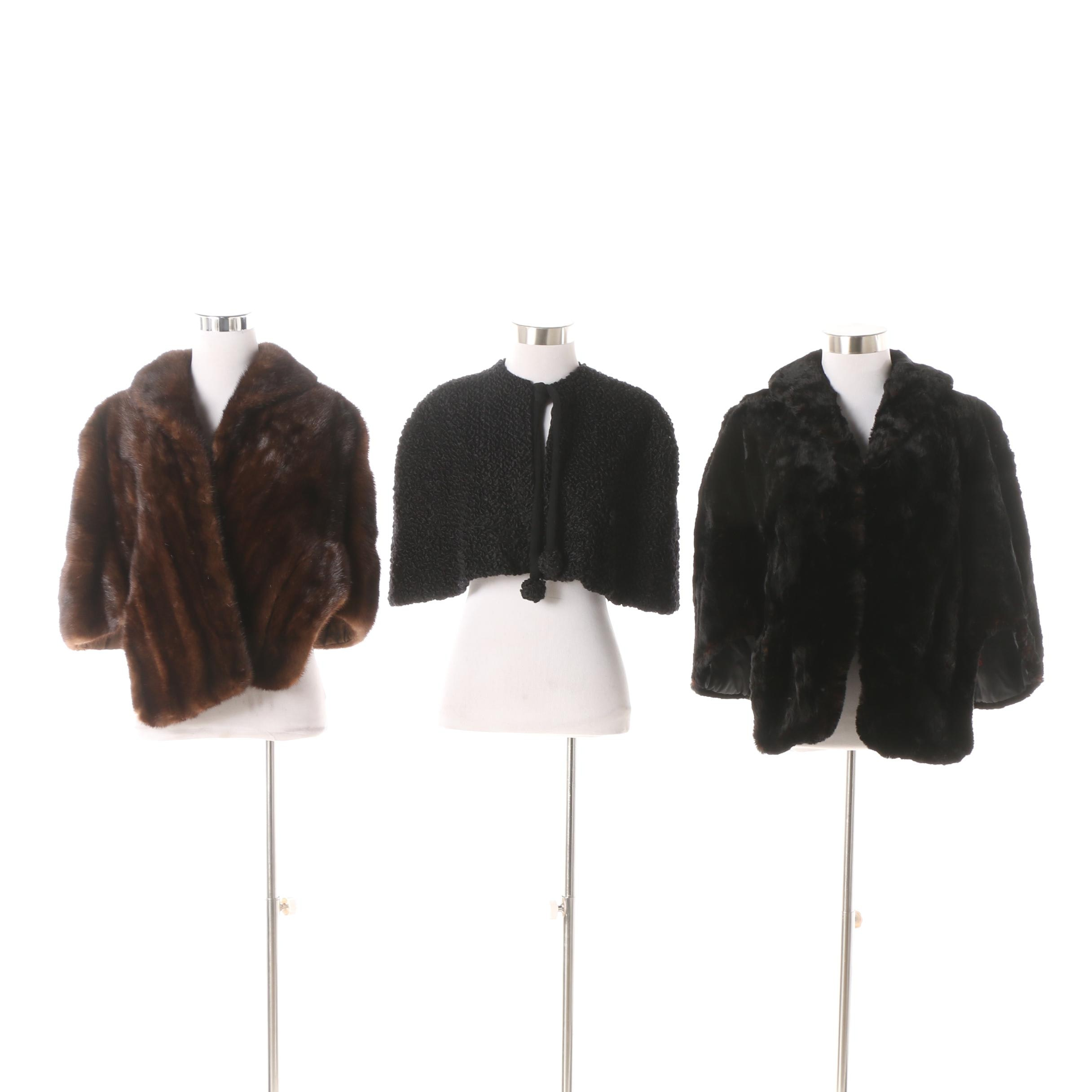 Vintage Mink Fur, Sheared Dyed Black Beaver Fur and Faux Persian Lamb Stoles