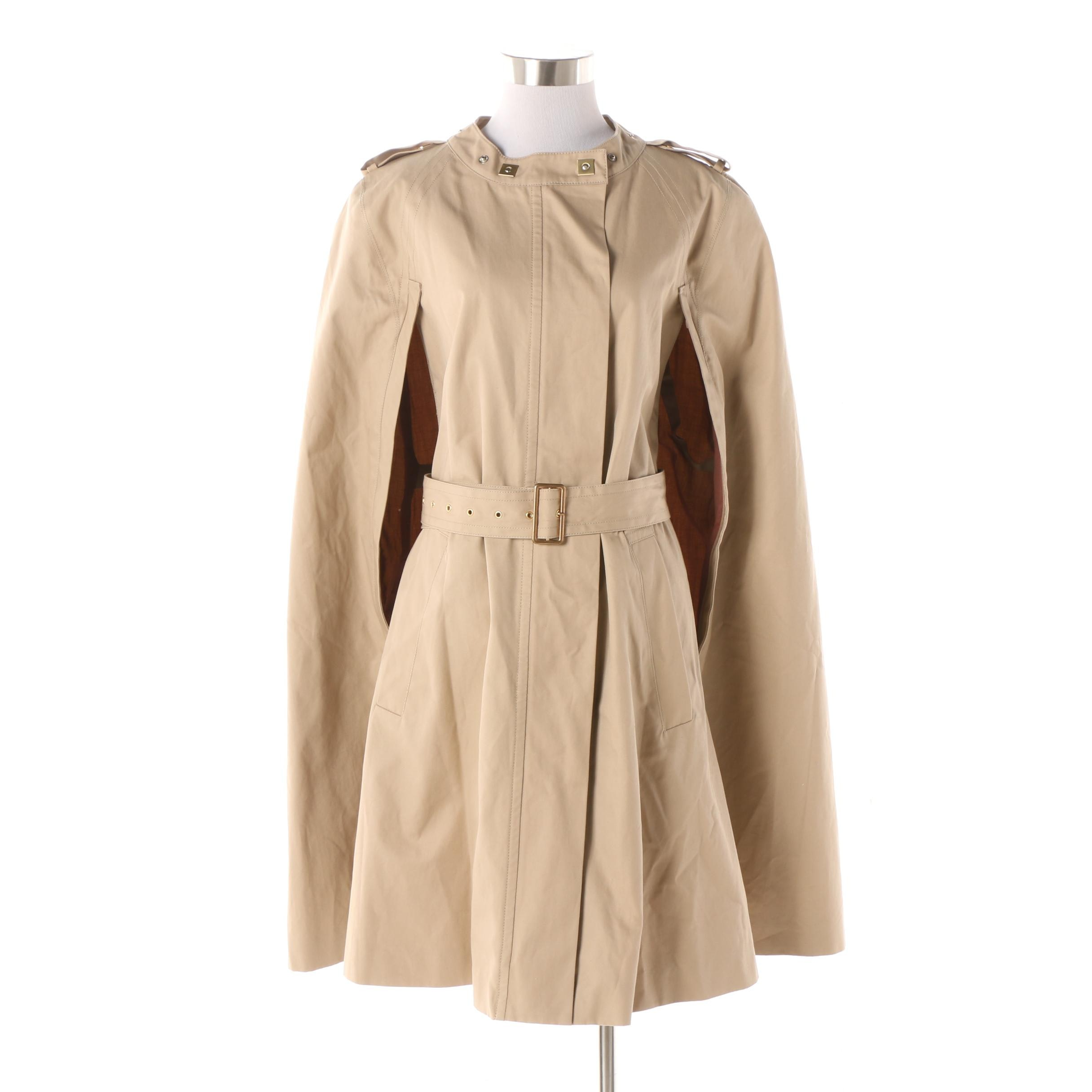 Women's Diane von Furstenberg Morinne Taupe Cotton Cape Coat with Belt