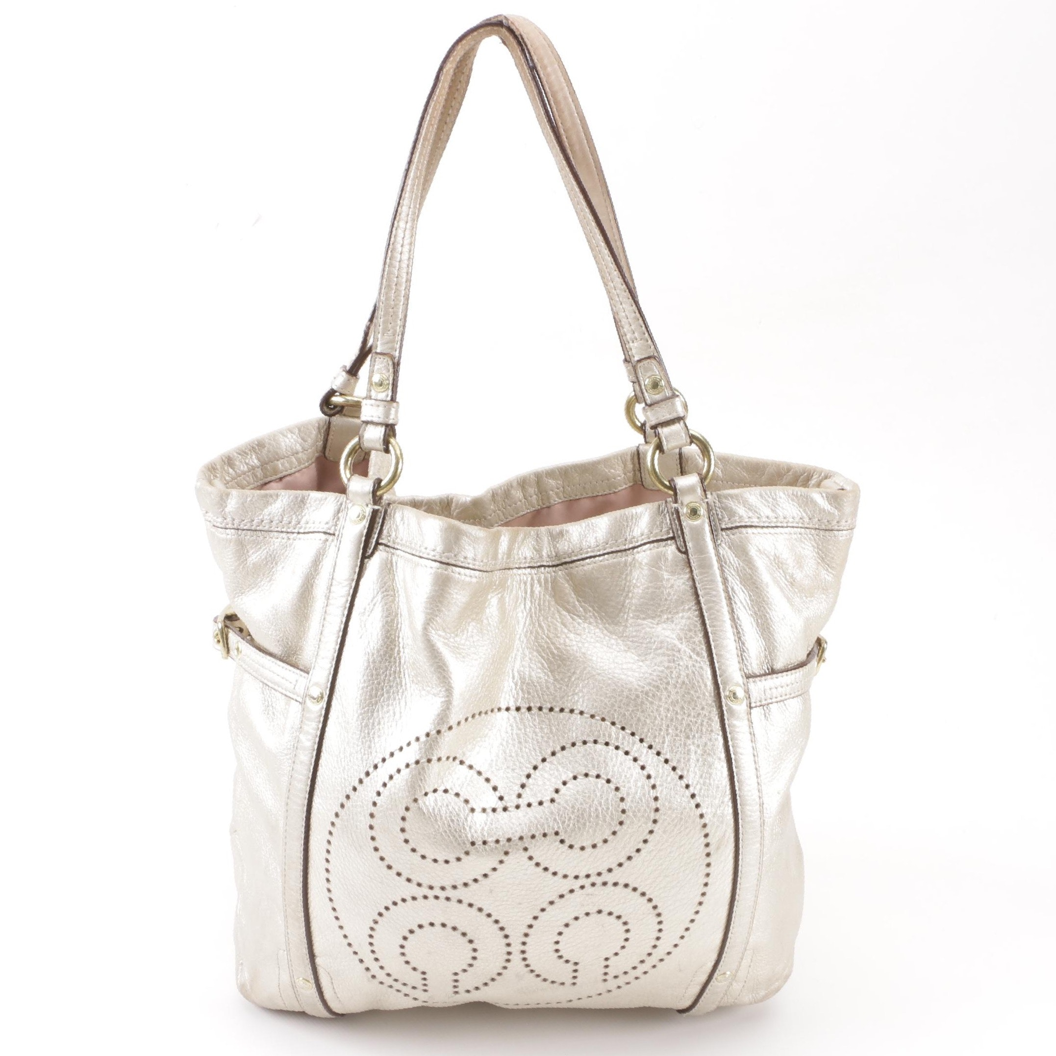 Coach Audrey Perforated Large Metallic Leather Tote