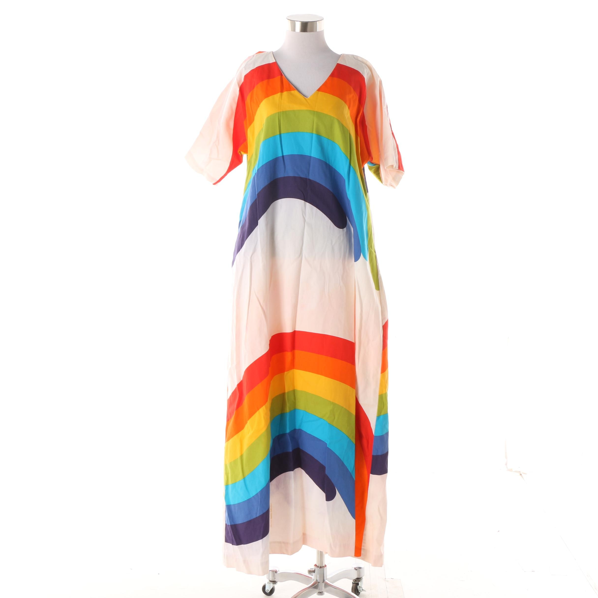 Women's 1970s Vintage Fun Fashions of Honolulu Rainbow Print Cotton Kaftan