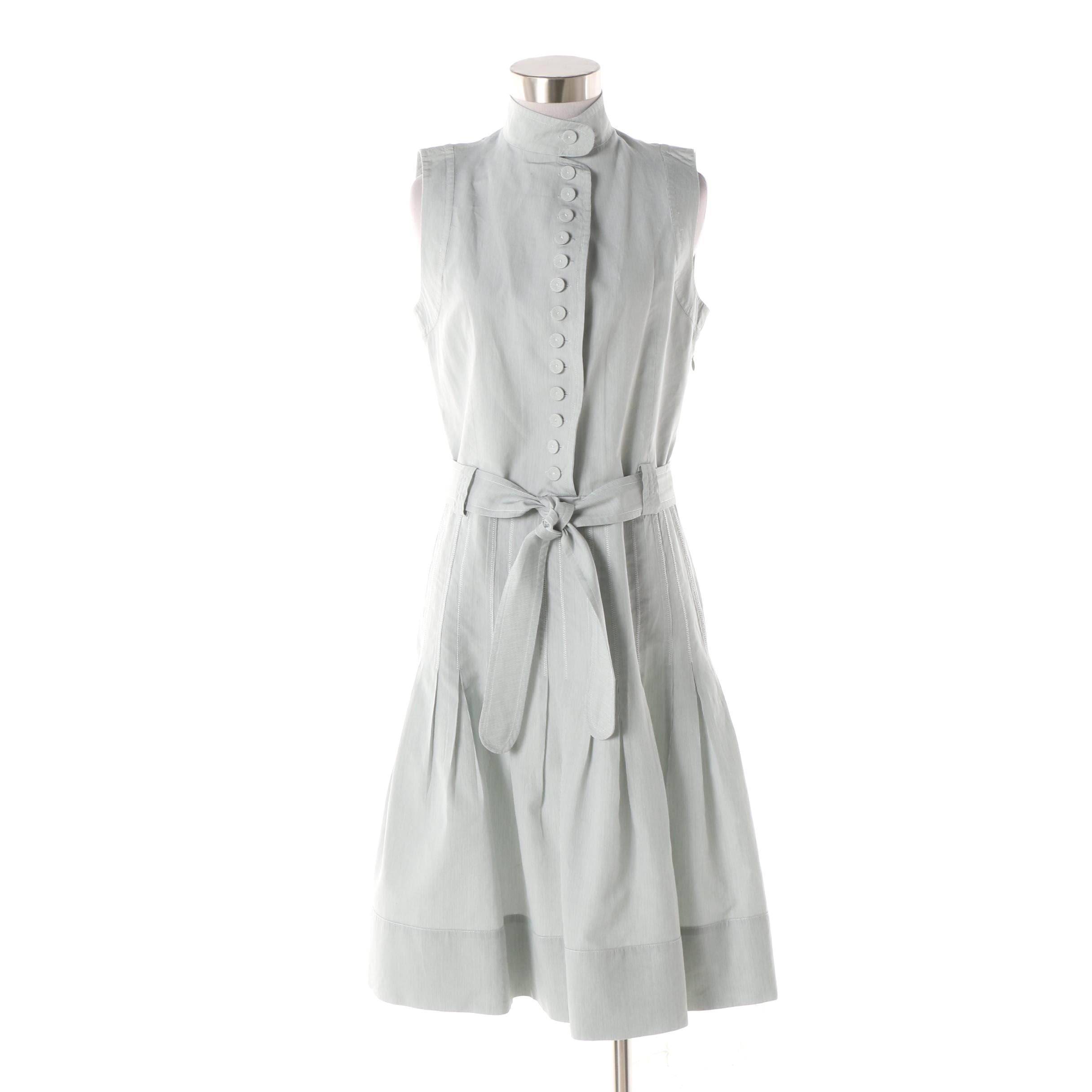 A-K-R-I-S Punto Cotton and Silk Green Seersucker Sleeveless Dress