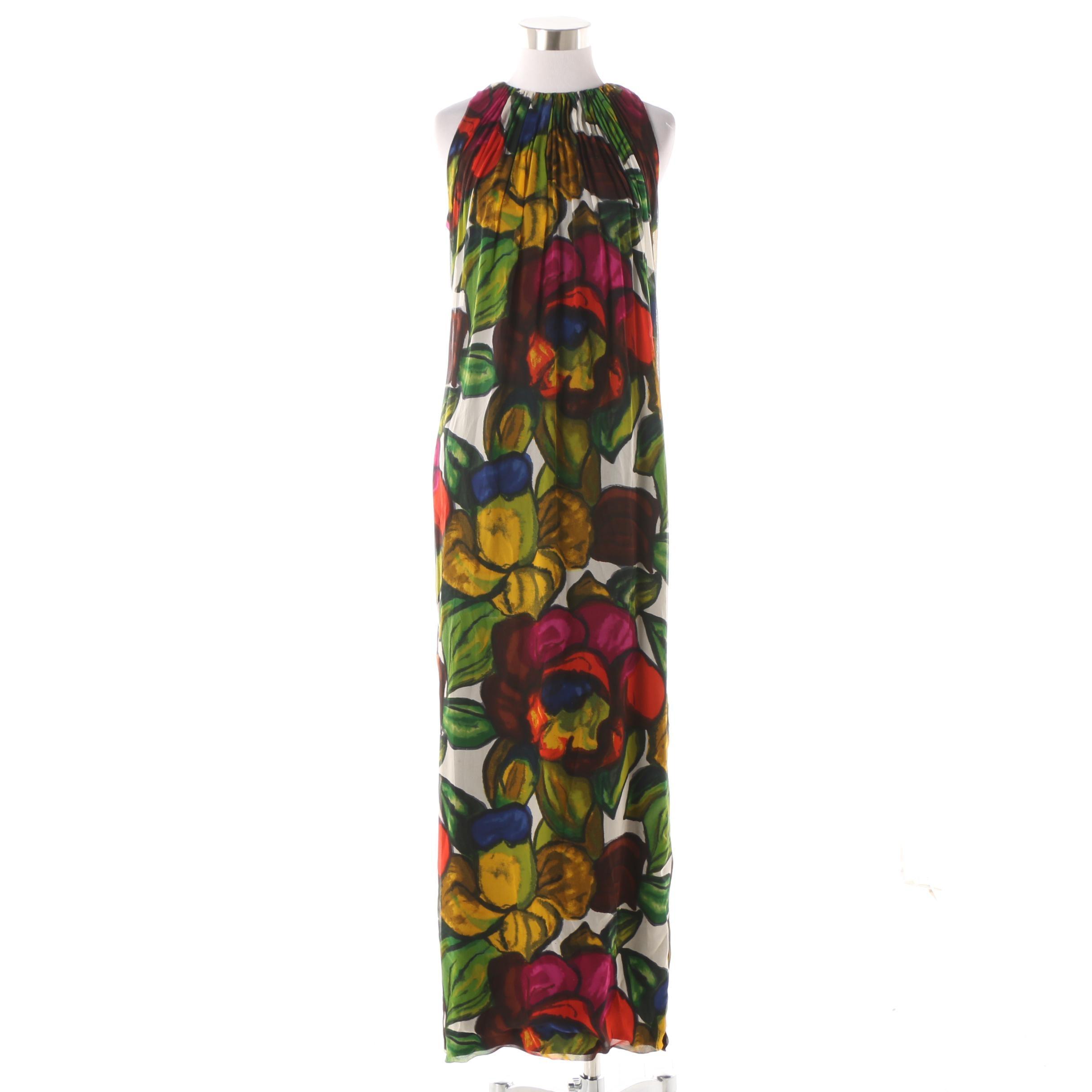 Women's 1960s Vintage Ceil Chapman Dark Floral Silk Column Gown