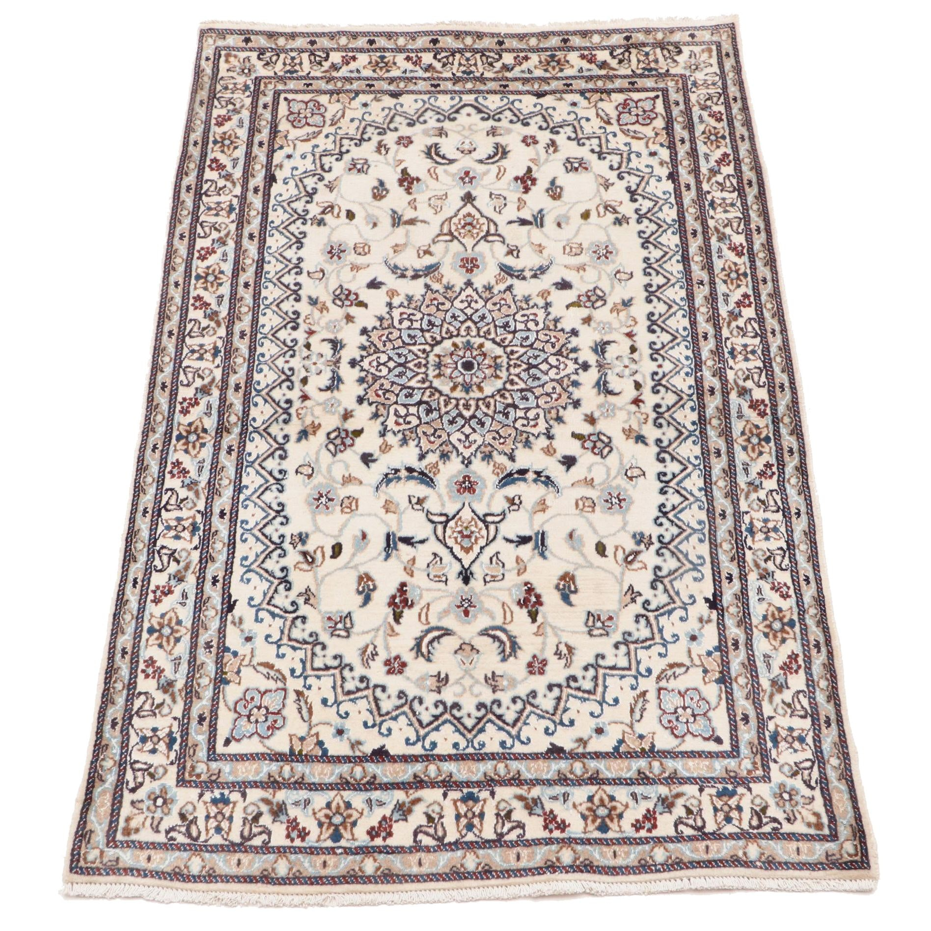 Hand-Knotted Indian Khamariah Wool and Silk Area Rug