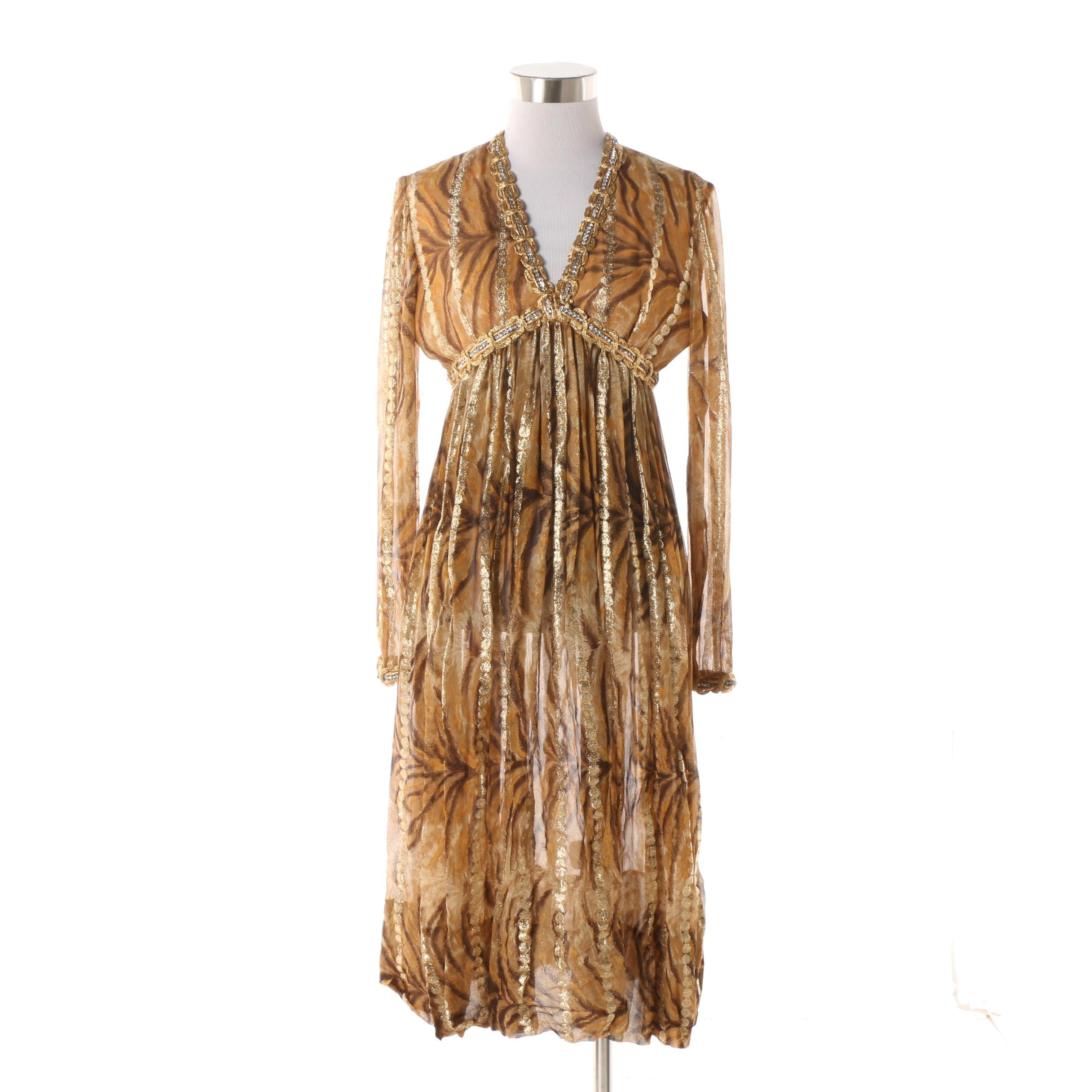 1960s Vintage Bill Blass Gold Tone Animal Print Silk Chiffon V-Cut Dress
