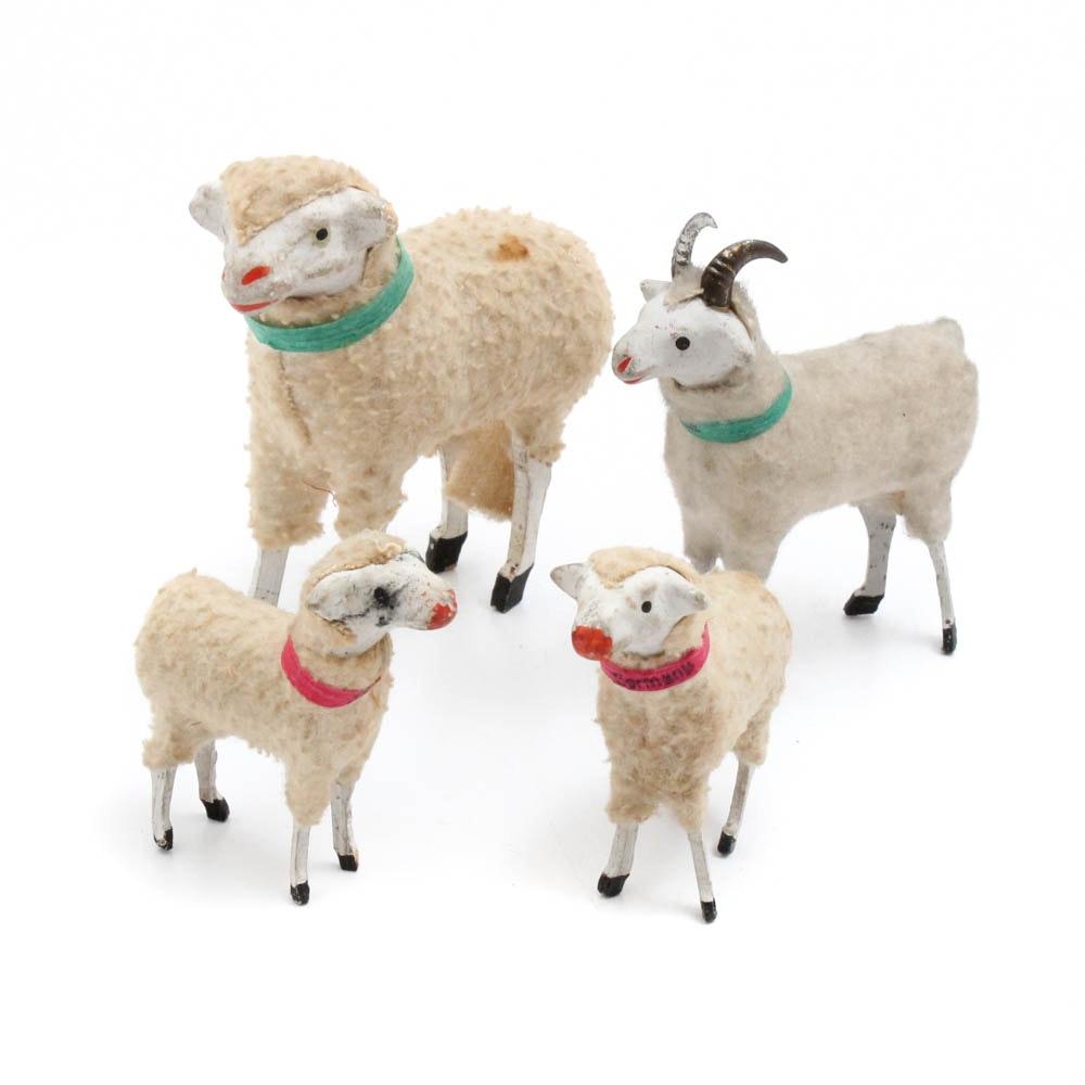 Antique German Stick Leg Wooly Sheep