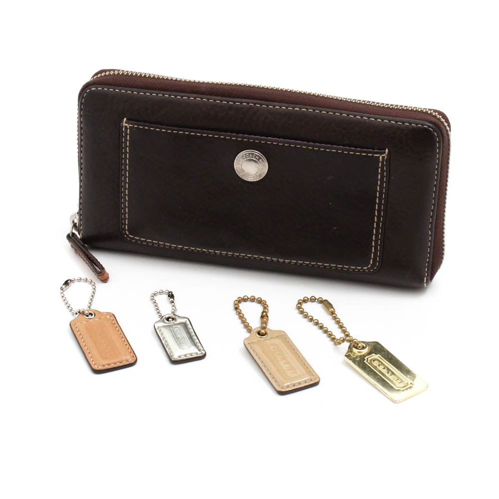 Coach Pebbled Brown Leather Zip-Around Wallet and Hang Tags