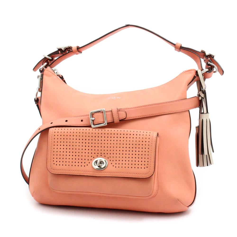 Coach New York Legacy Courtney Peach Leather Hobo Handbag