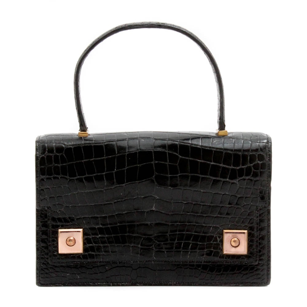 Vintage Hermès of Paris Black Piano Flap Crocodile Handbag