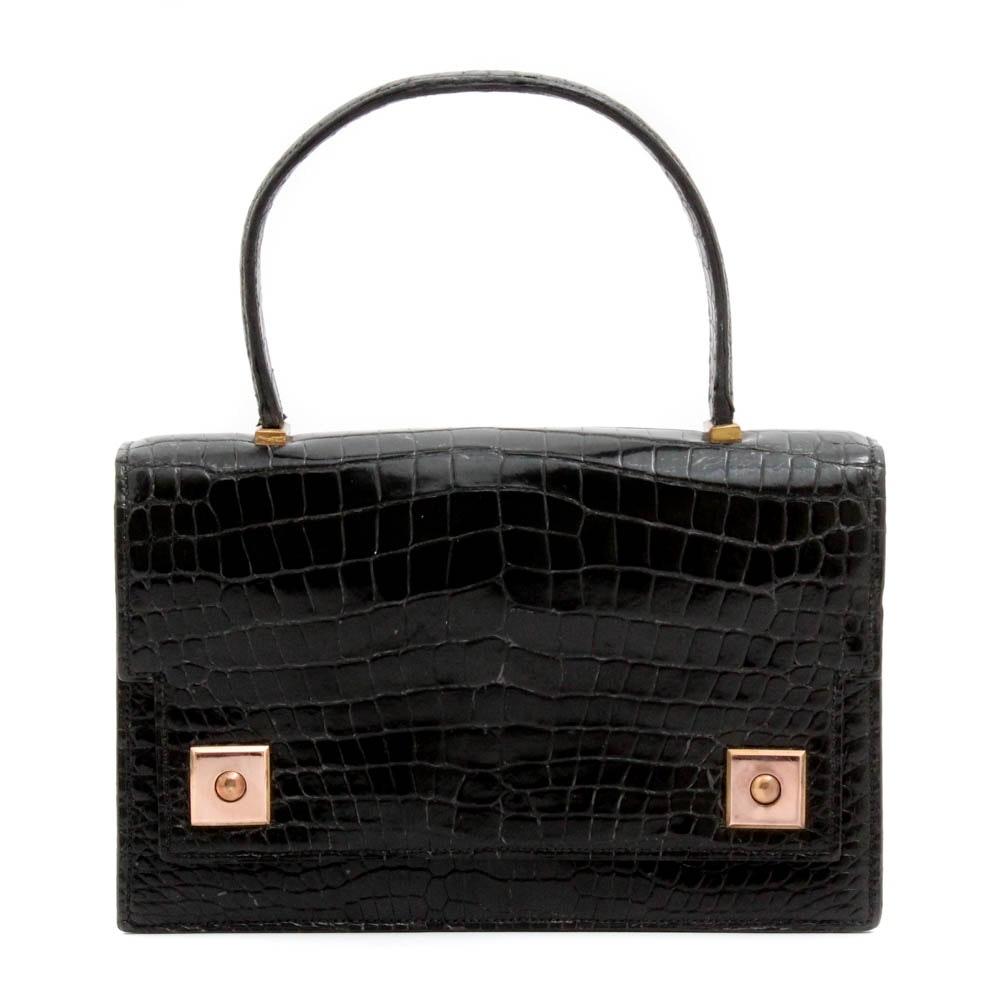 Vintage Hermès of Paris Black Piano Flap Crocodile Handbag