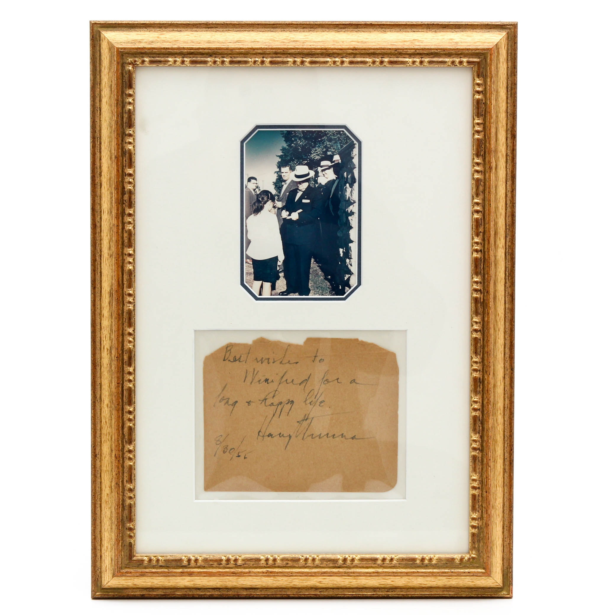 Harry Truman Autograph with Photo of Signing