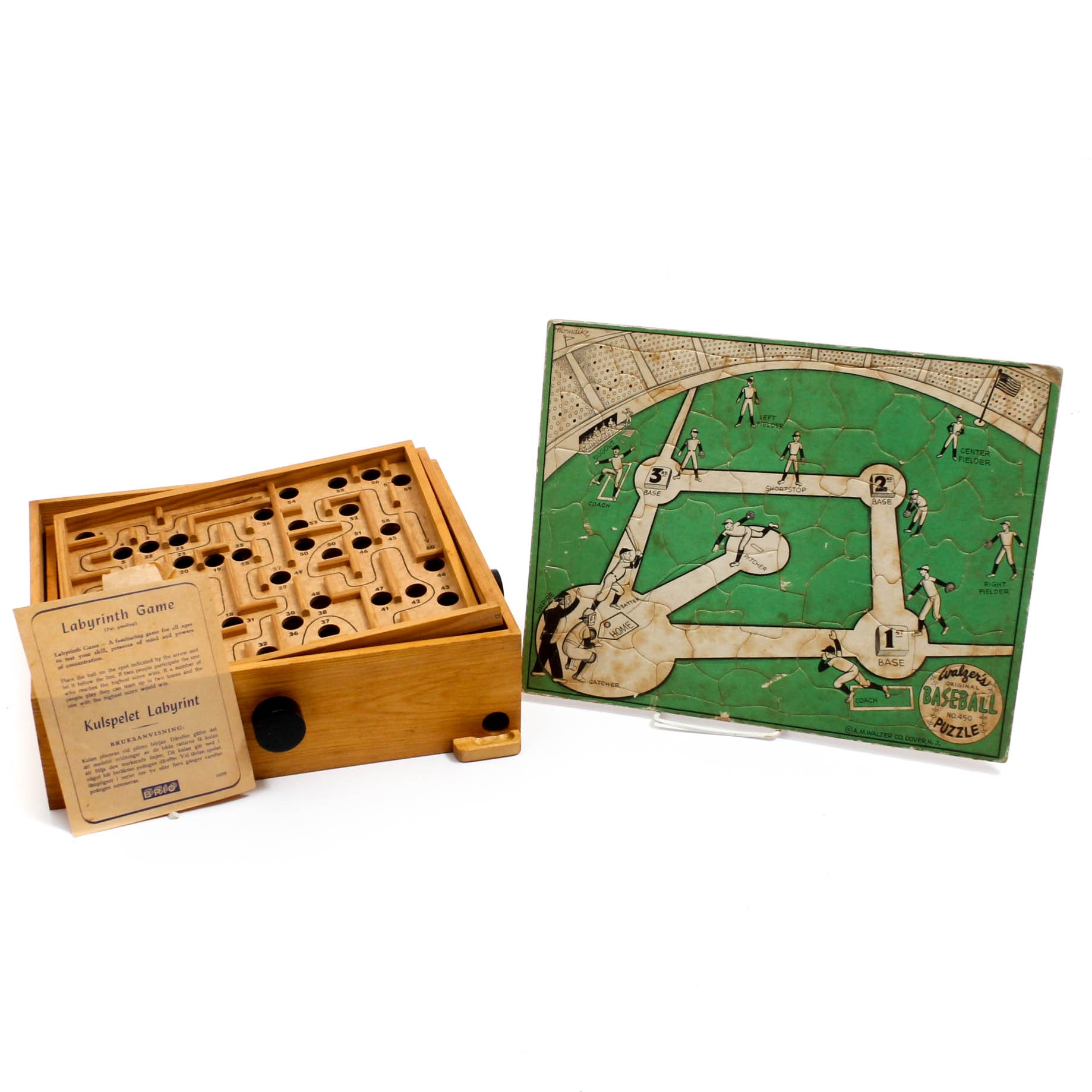 Vintage Games with Labyrinth and Baseball Puzzle