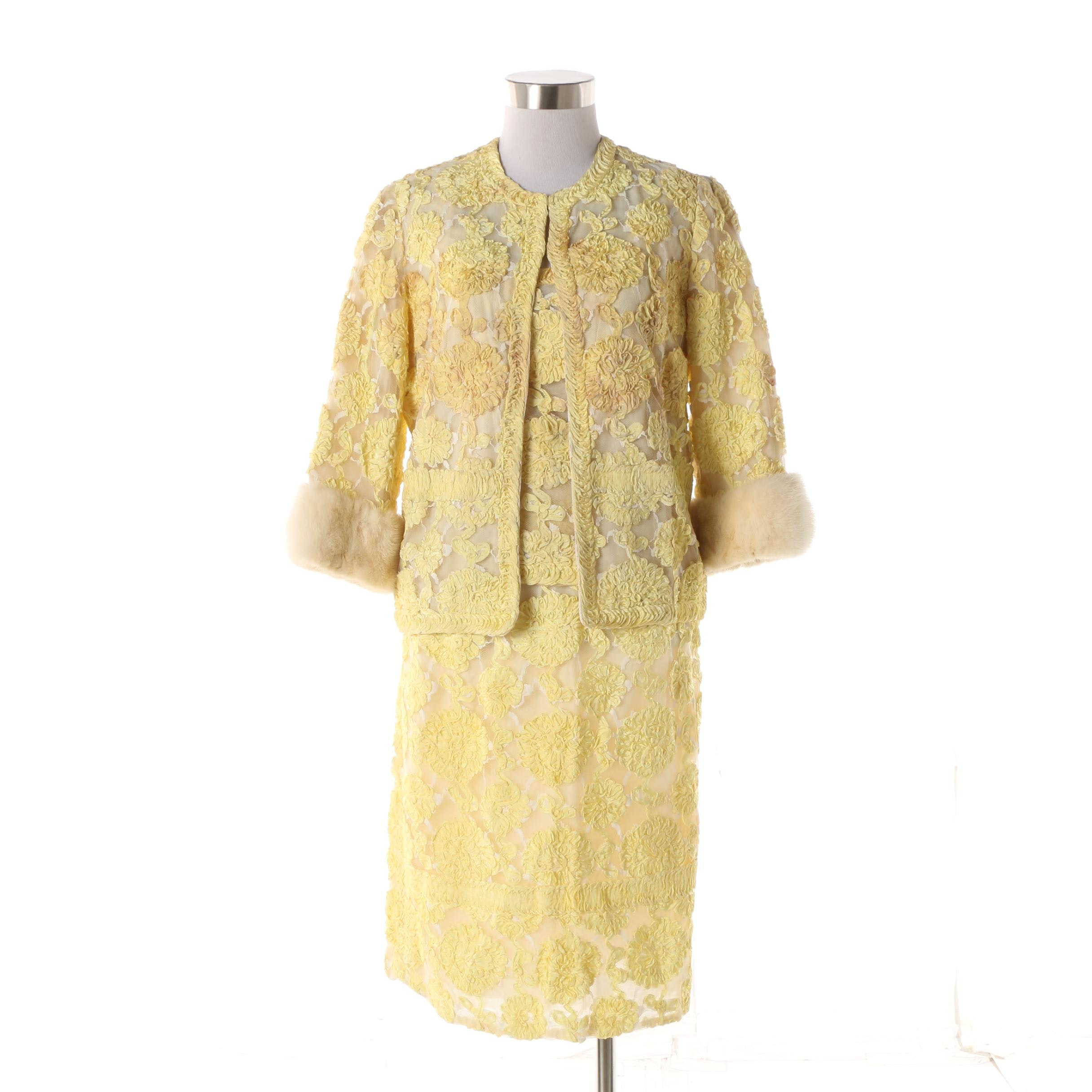1950s House of Jules Yellow Silk and Ribbon Work Skirt Suit with Mink Fur Trim