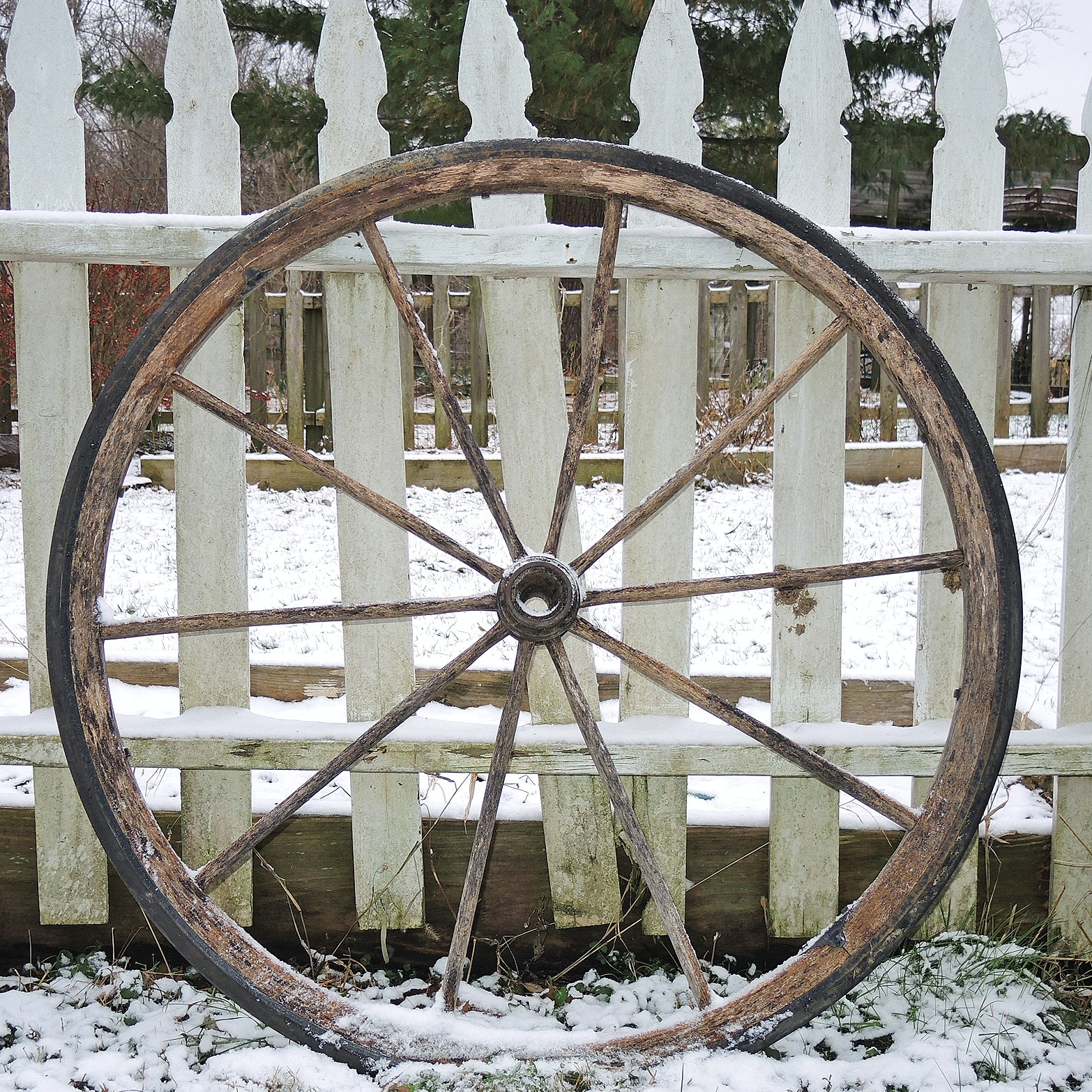 Antique Wooden Wagon Wheel
