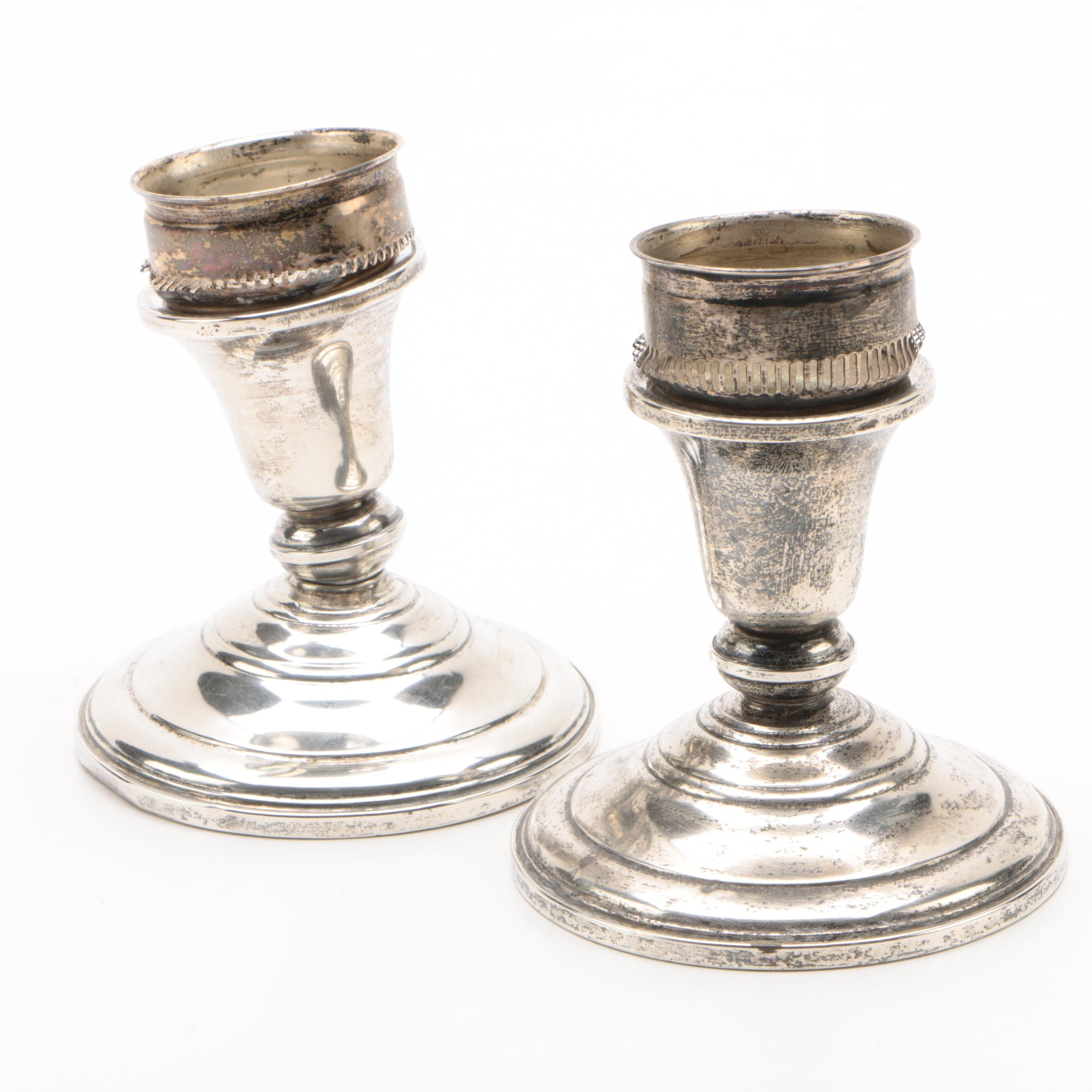 Frank M. Whiting & Co. Weighted Sterling Candle Holders, Early 20th Century