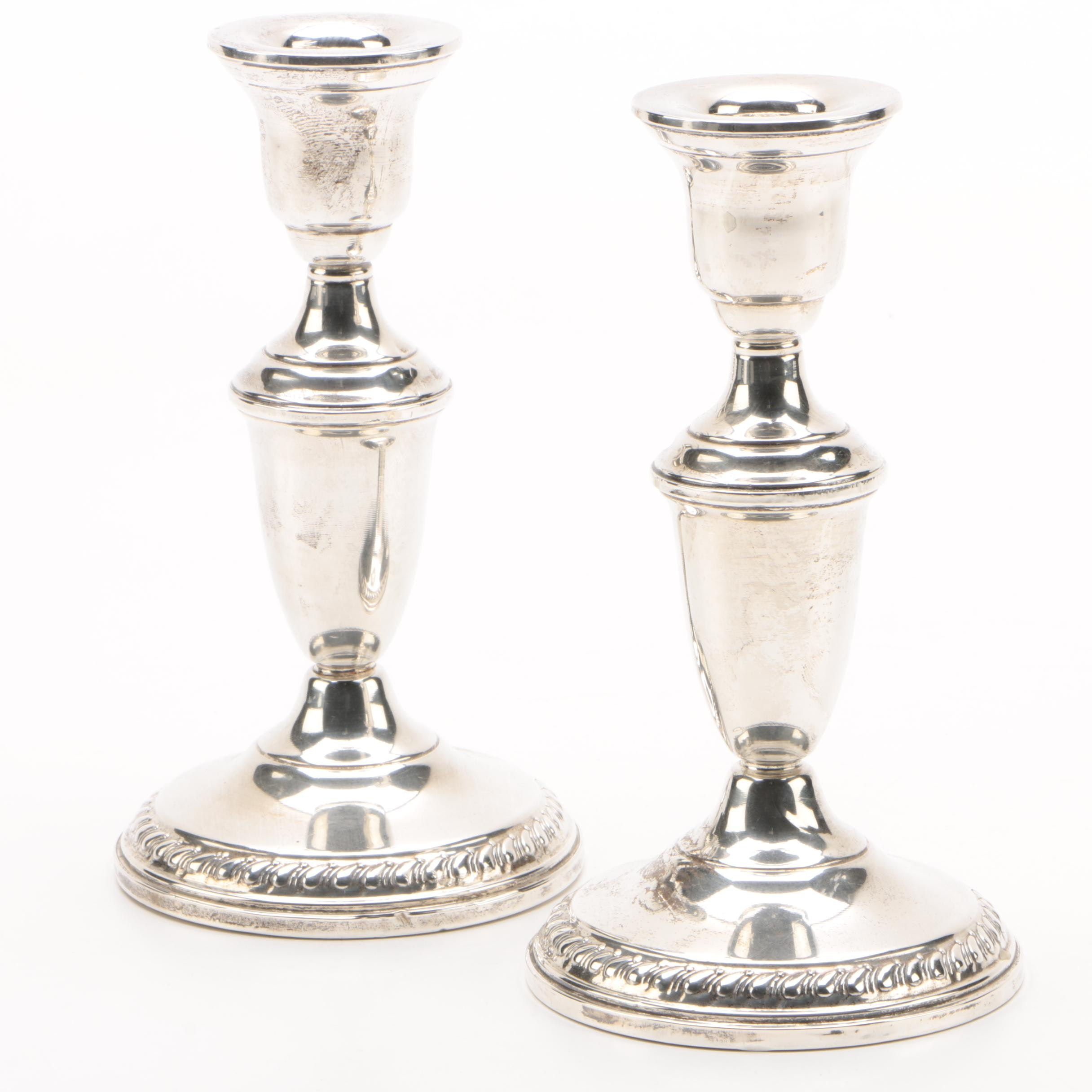 Columbia Silver Co. Weighted Sterling Candlesticks, Mid-Century