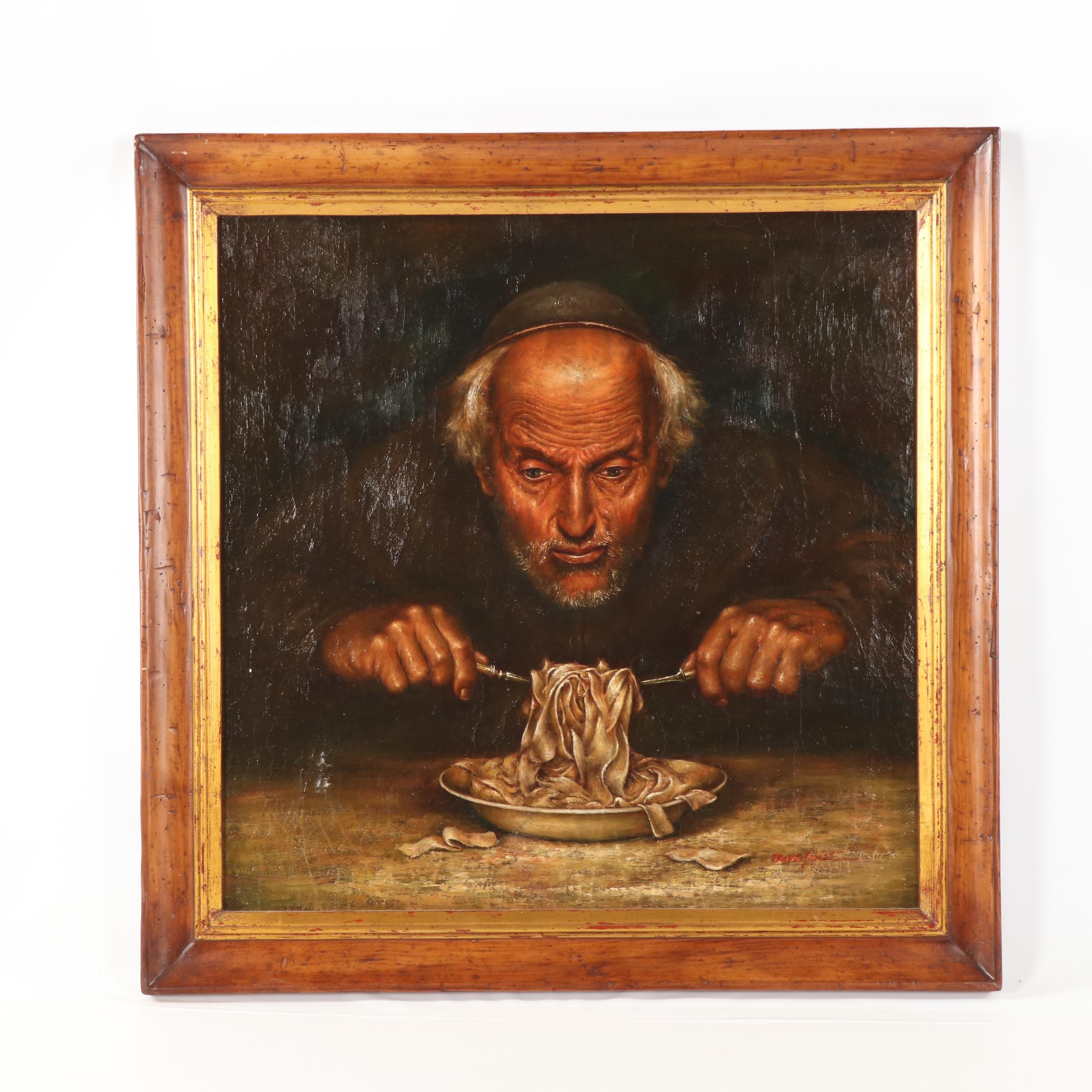 "Trevor James Copy Oil Painting ""The Pasta Eater"""