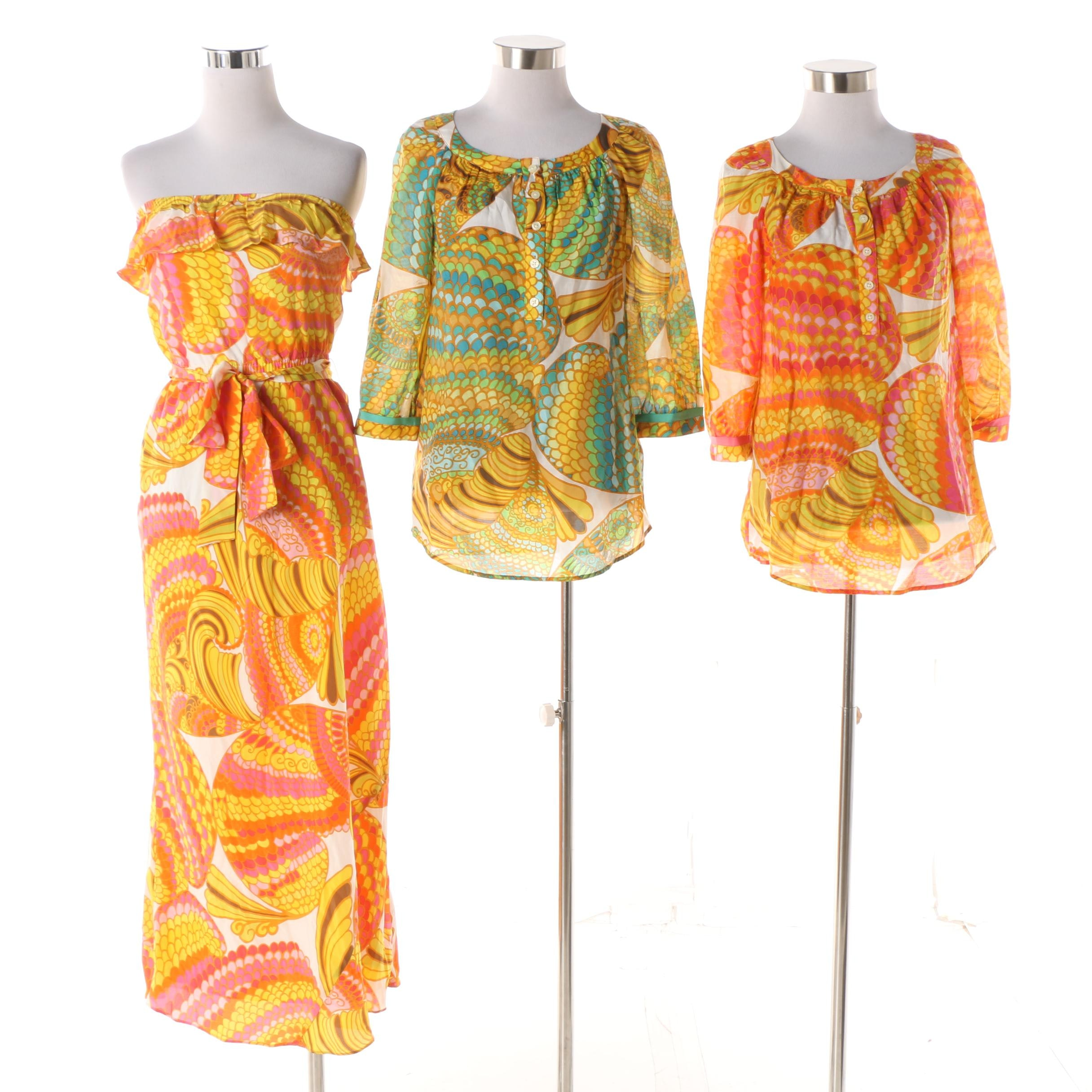 2012 Banana Republic Trina Turk Collection Printed Maxi Dress and Blouses