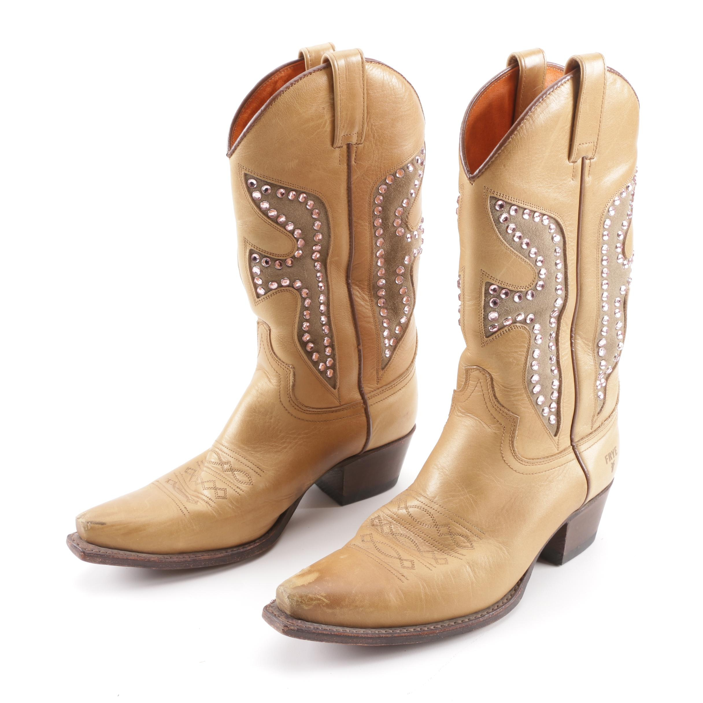 Frye Two-Tone Leather and Suede Western Boots with Pink Rhinestones