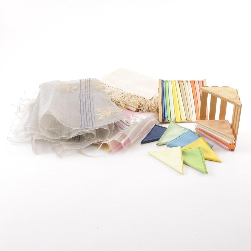Vintage Dyed Silk Blend Wraps and Handkerchiefs featuring Gold Metallic Threads