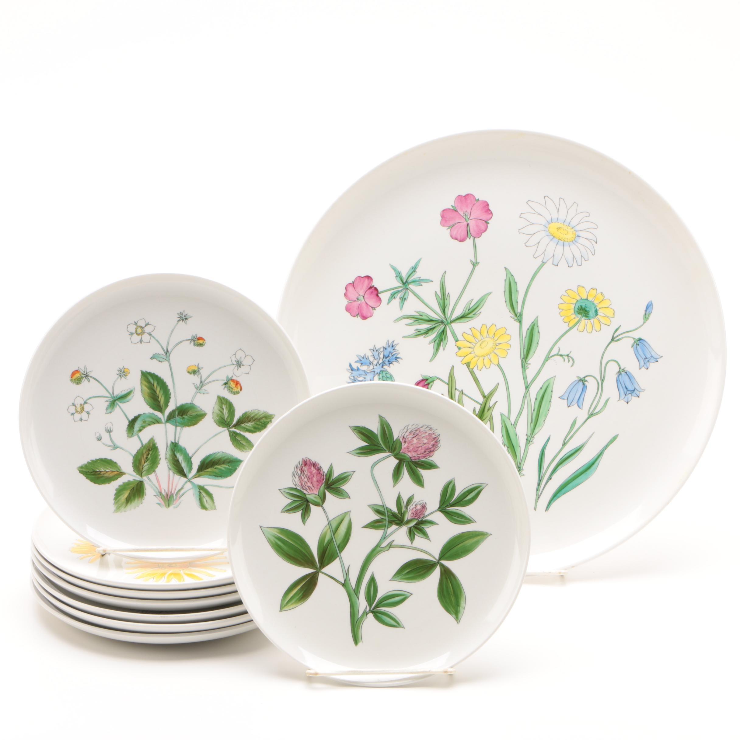 "Vintage Rörstrand ""Flora"" Chop Plate and Salad Plates"