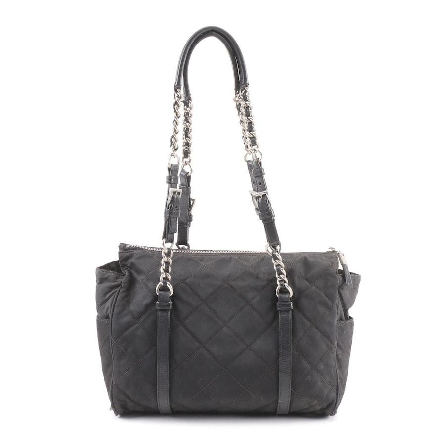 Prada Quilted Black Nylon Shoulder Bag   EBTH 2fc41f8af29b3