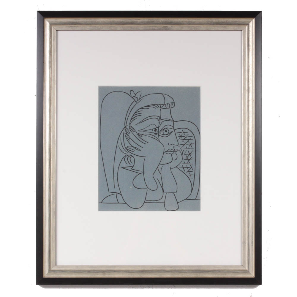 "Pablo Picasso 1962 Color Linoleum Cut ""Female Head with Supporting Hands"""