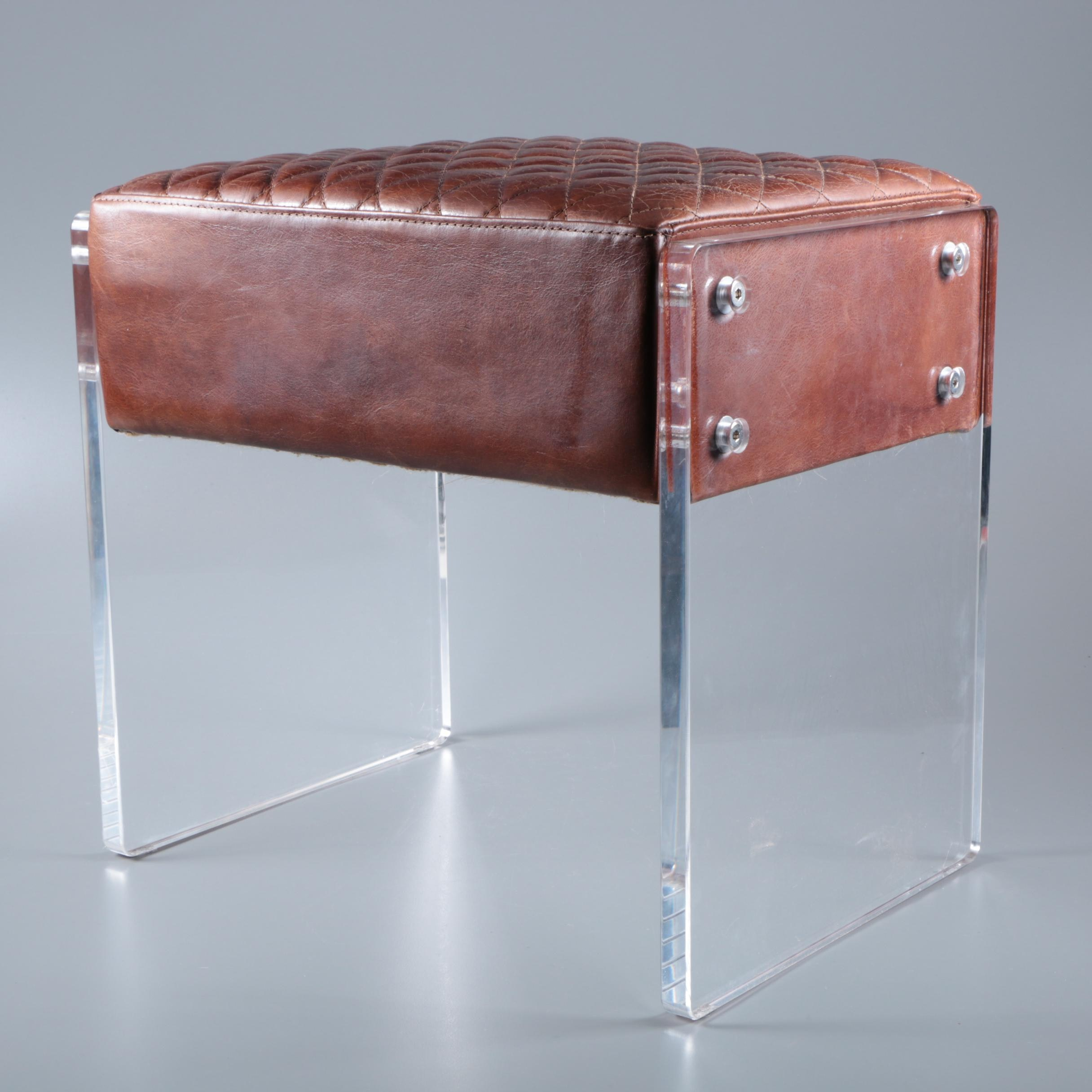 """Swinderby"" Leather and Acrylic Foot Stool, 21st Century"