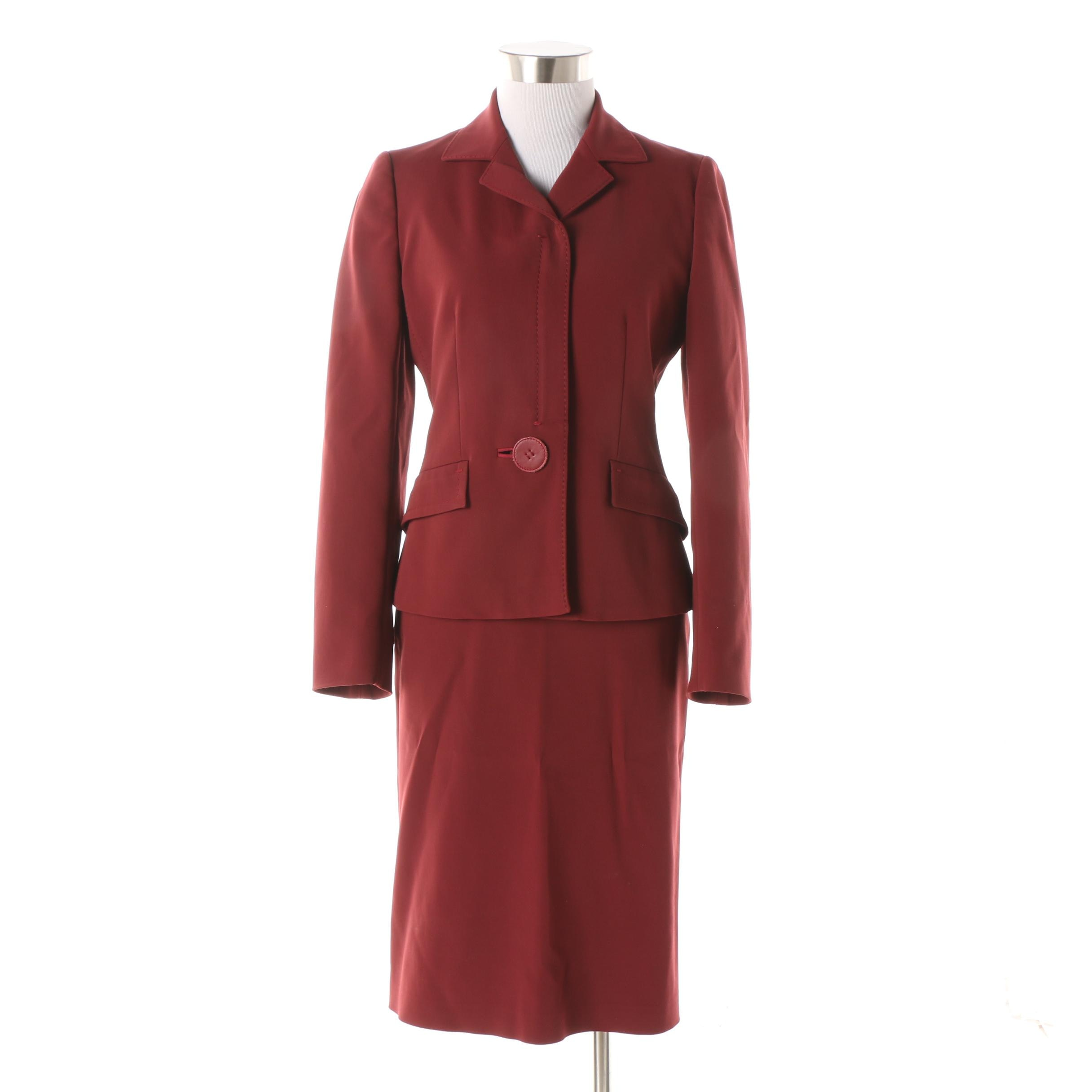 Prada Burgundy Skirt Suit with Leather Button Detail