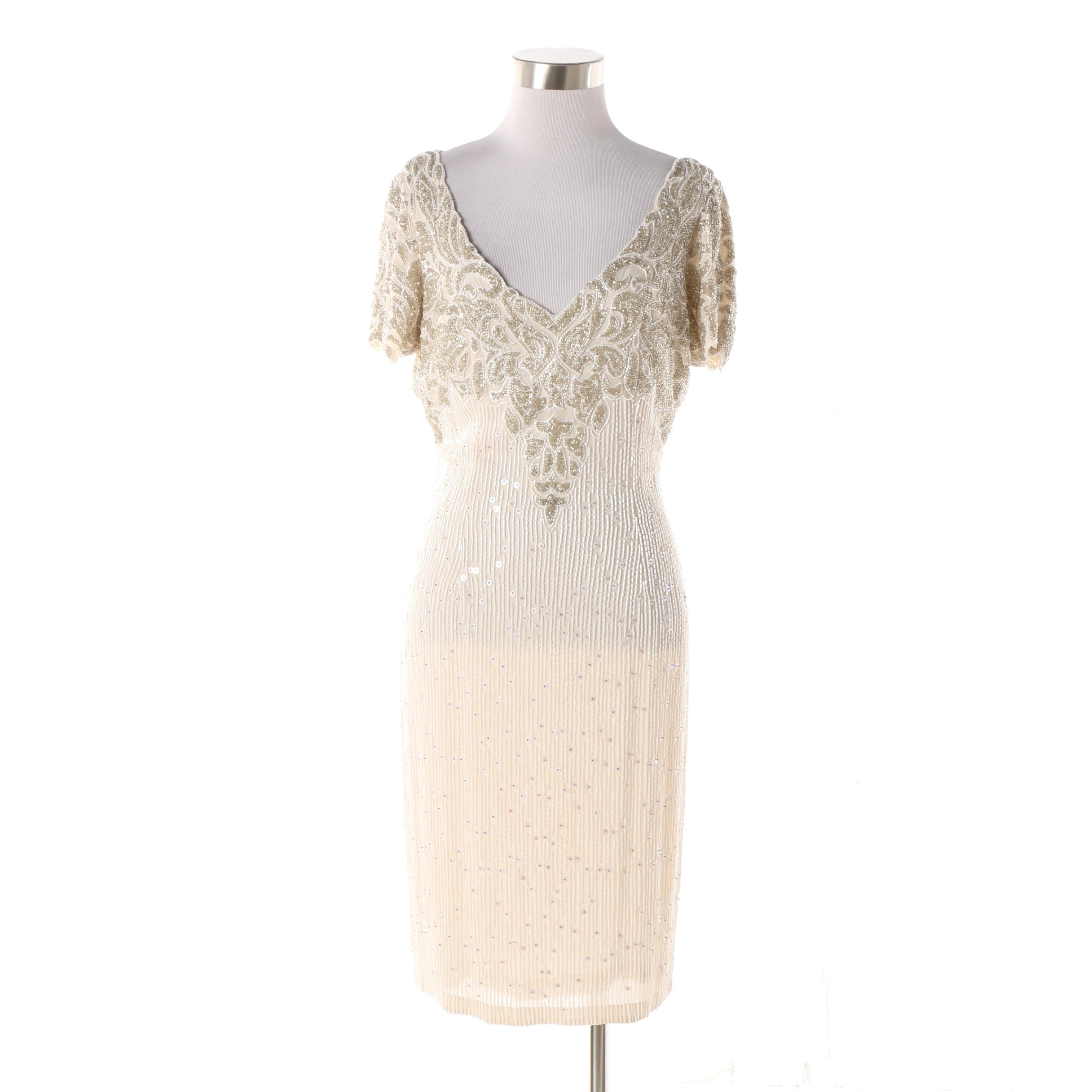 1980s Vintage Naeem Khan Riazee Nights Hand Beaded Cream Silk Evening Dress