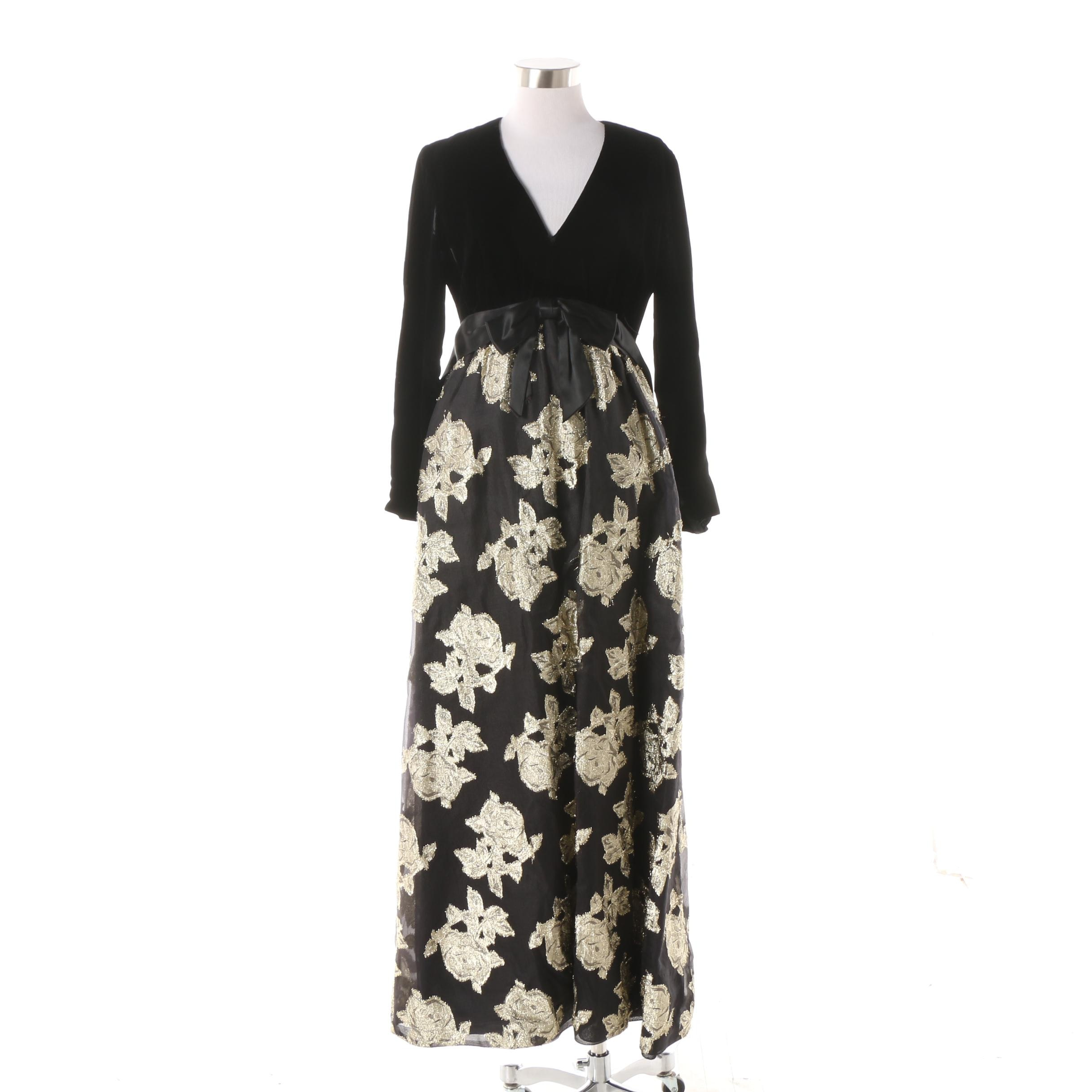 1960s Vintage Black Velvet Metallic Gold Rosette Maxi Evening Dress