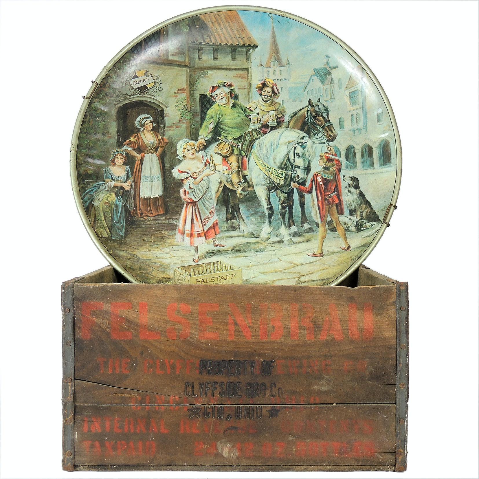 Felsenbrau of Cincinnati Vintage Beer Crate and Falstaff Reproduction Plate