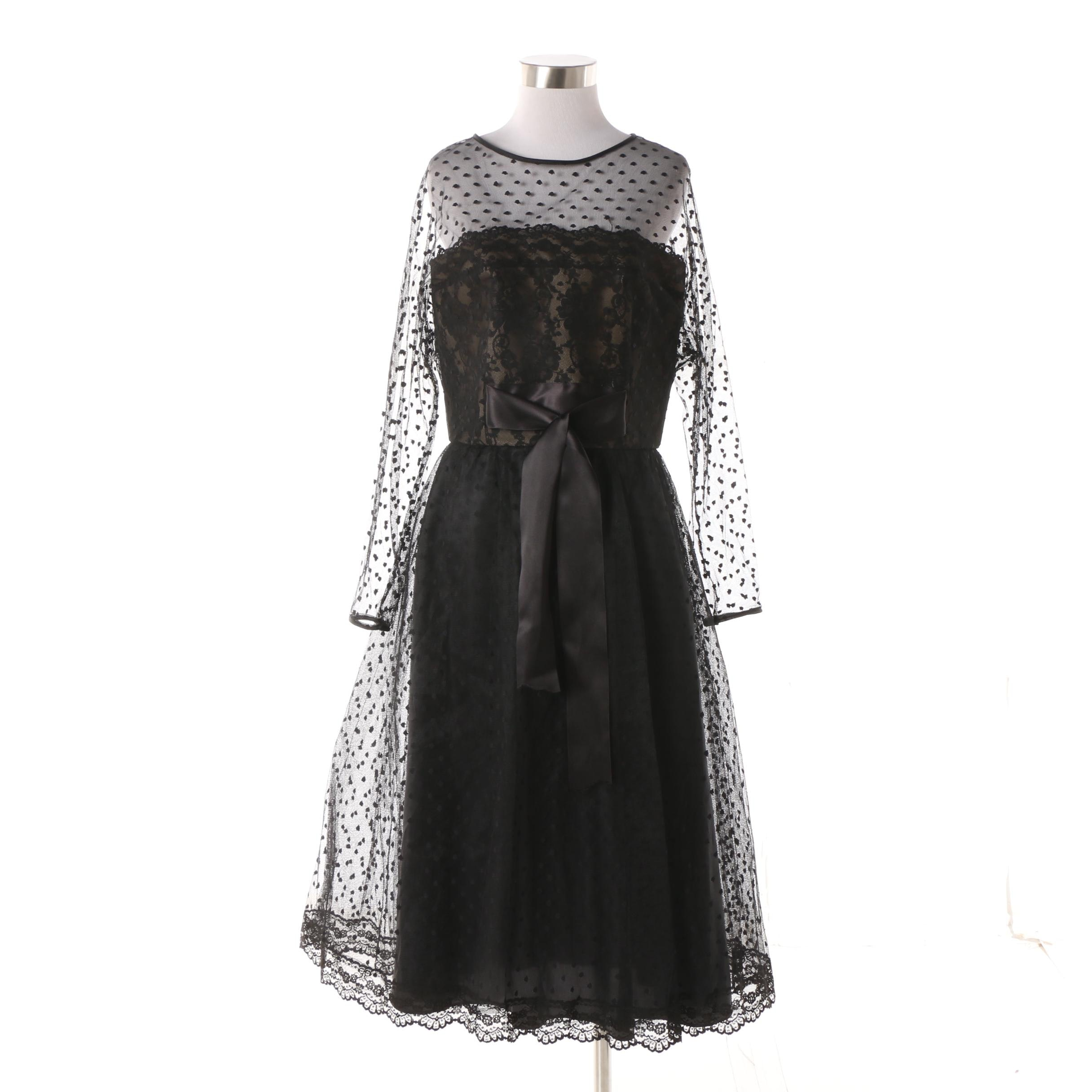 1950s Vintage Victor Costa Black Flocked Lace Cocktail Dress