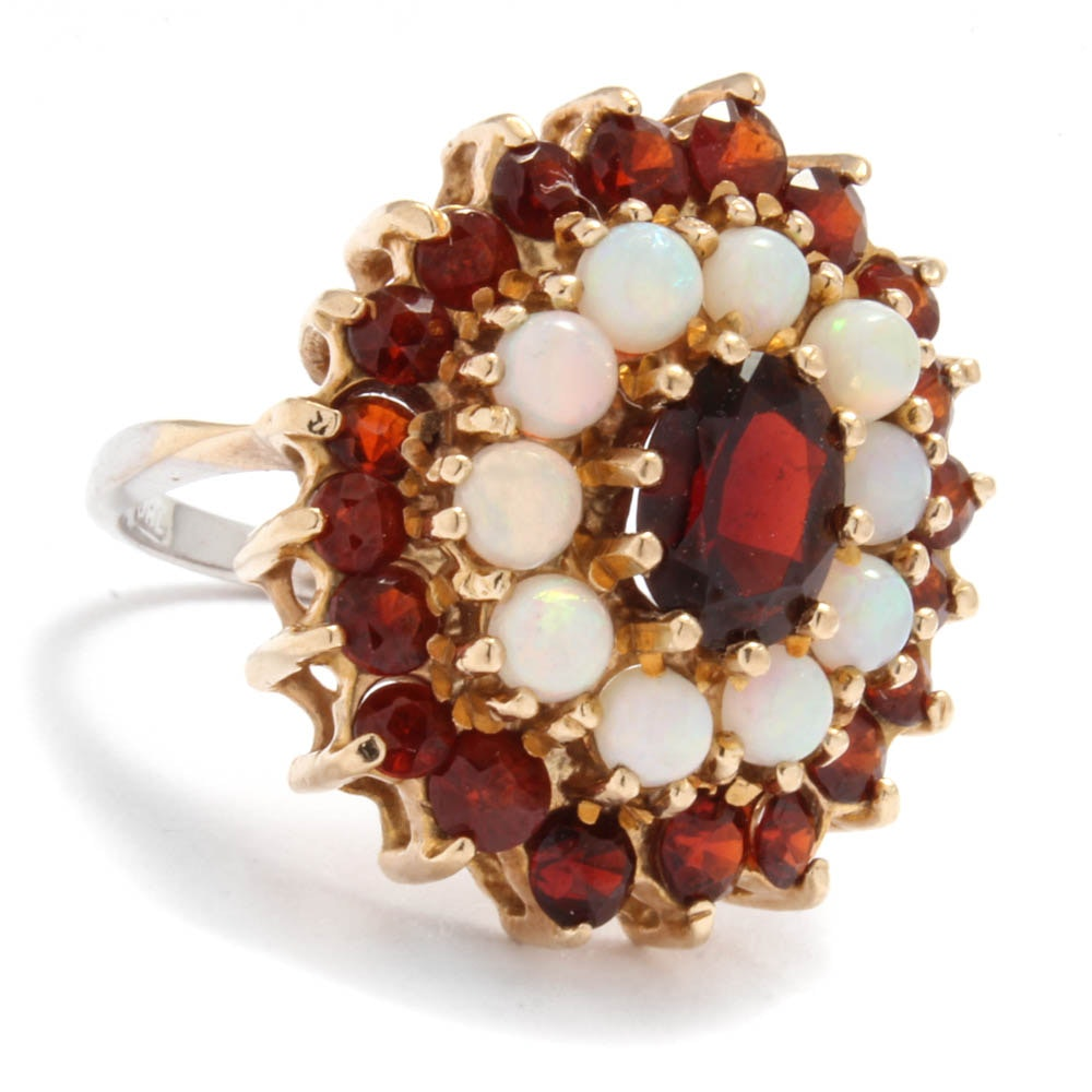 14K White and Yellow Gold Garnet and Opal Cluster Ring
