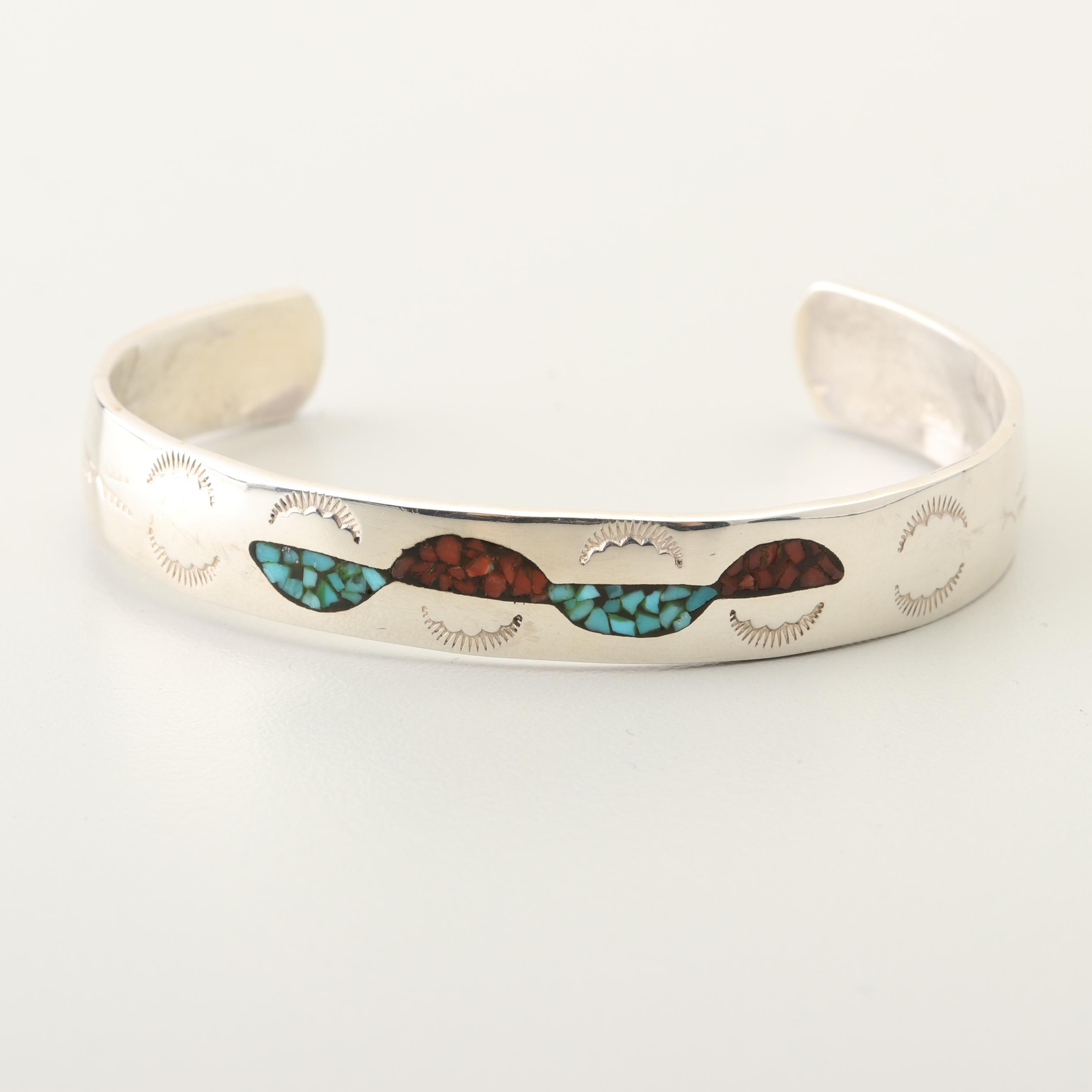 TAH Sterling Silver Turquoise and Coral Cuff Bracelet